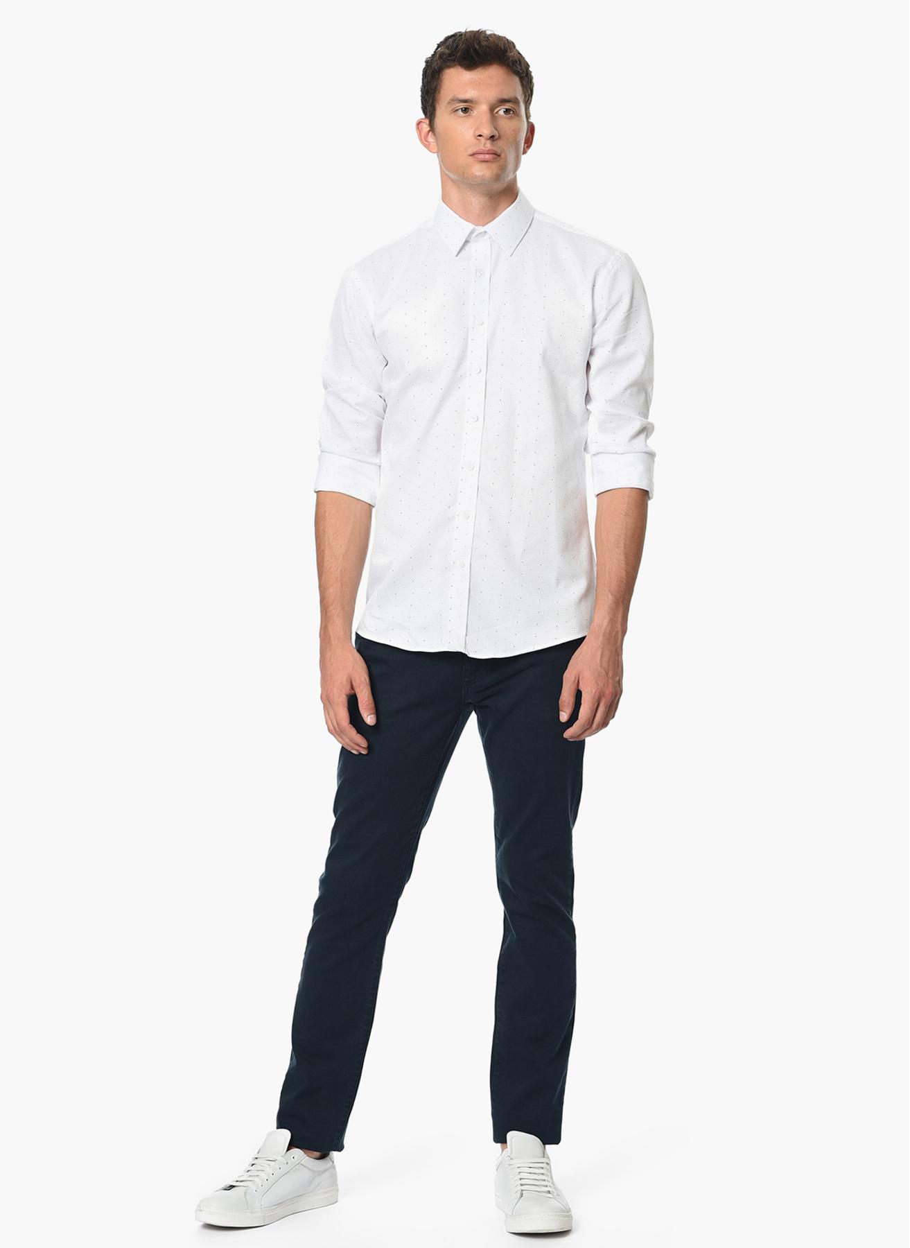 George Hogg Desenli Beyaz Gömlek 43 5001699481005 Ürün Resmi