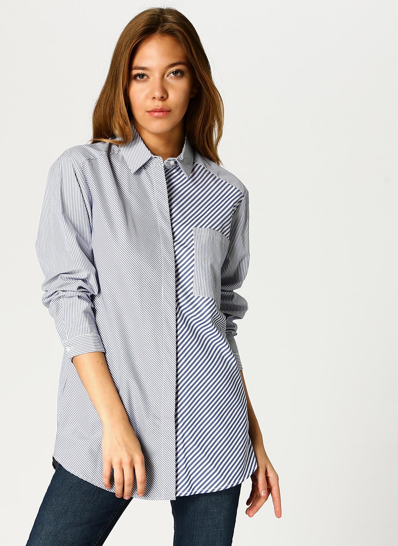 Koton Çizgili İndigo-Taş Gömlek 40 5001701578004 Ürün Resmi