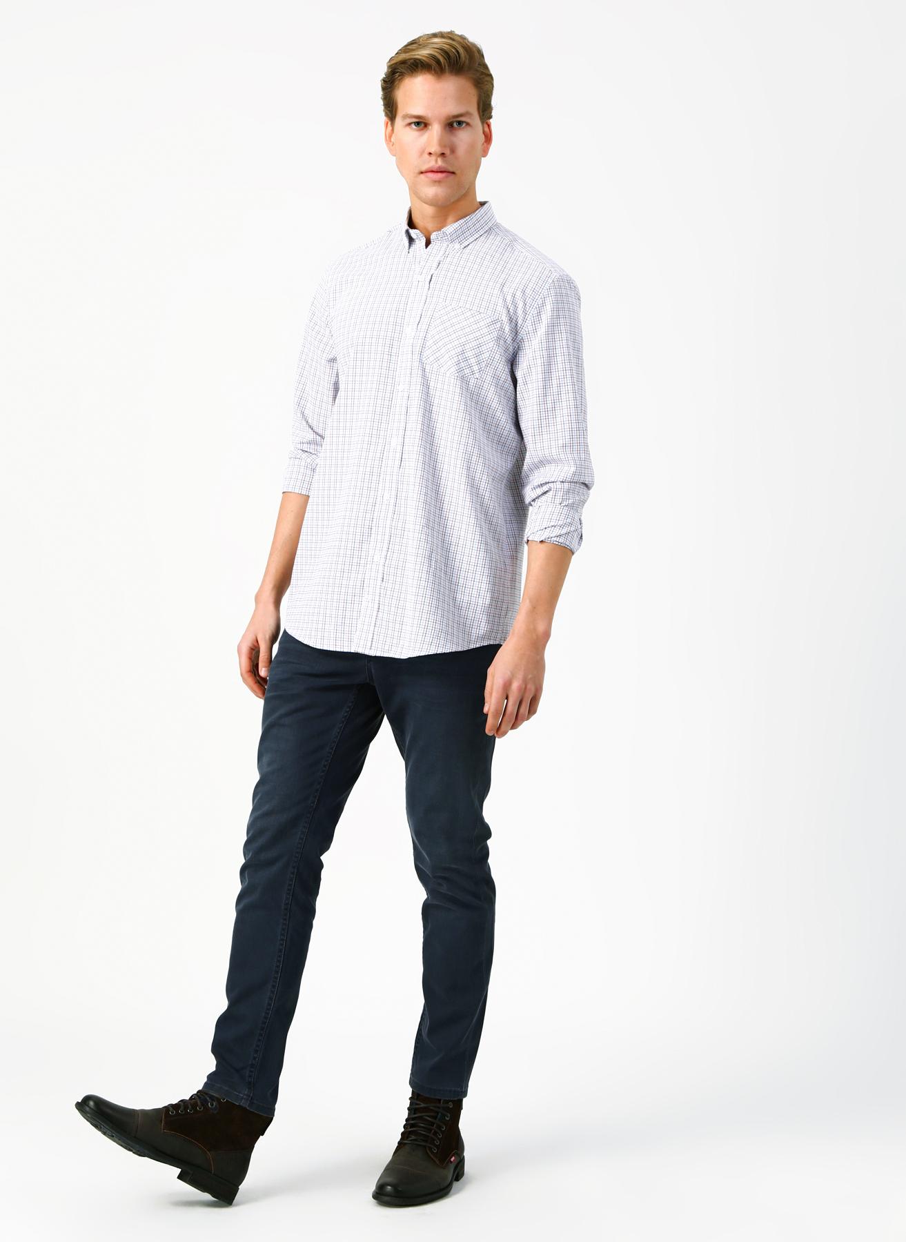 Mustang Çizgili Slim Fit Mavi-Beyaz Denim Pantolon 32-30 5001702239001 Ürün Resmi