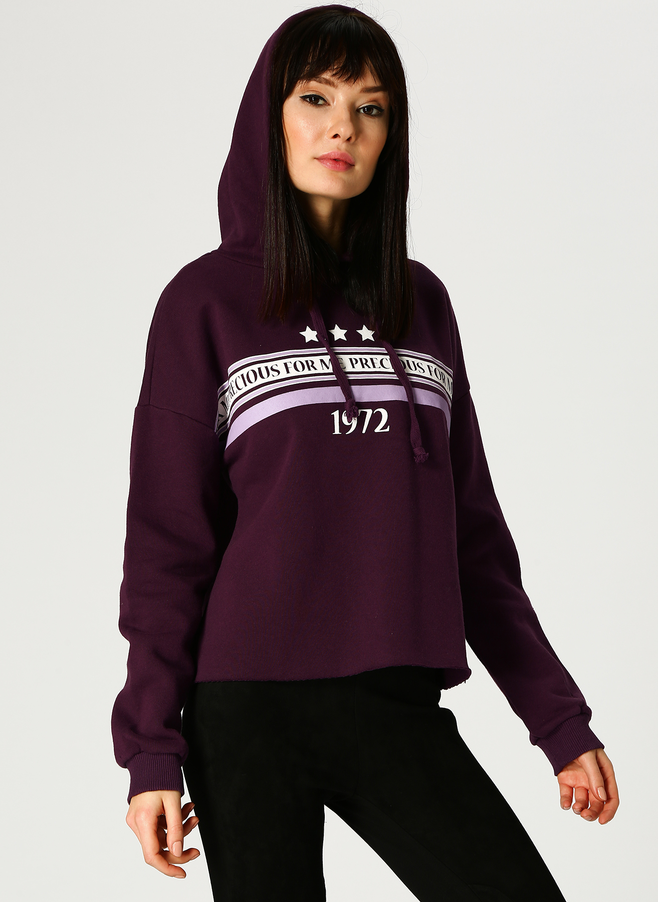 Koton Kapüşonlu Mor Sweatshirt M 5001702274002 Ürün Resmi