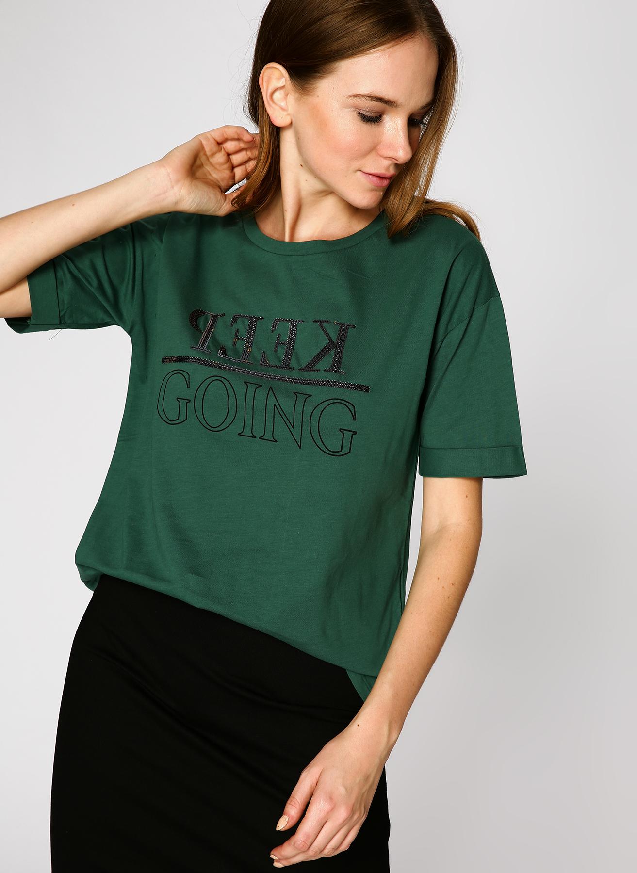 Koton Pul İşlemeli Yeşil T-Shirt S 5001702370003 Ürün Resmi