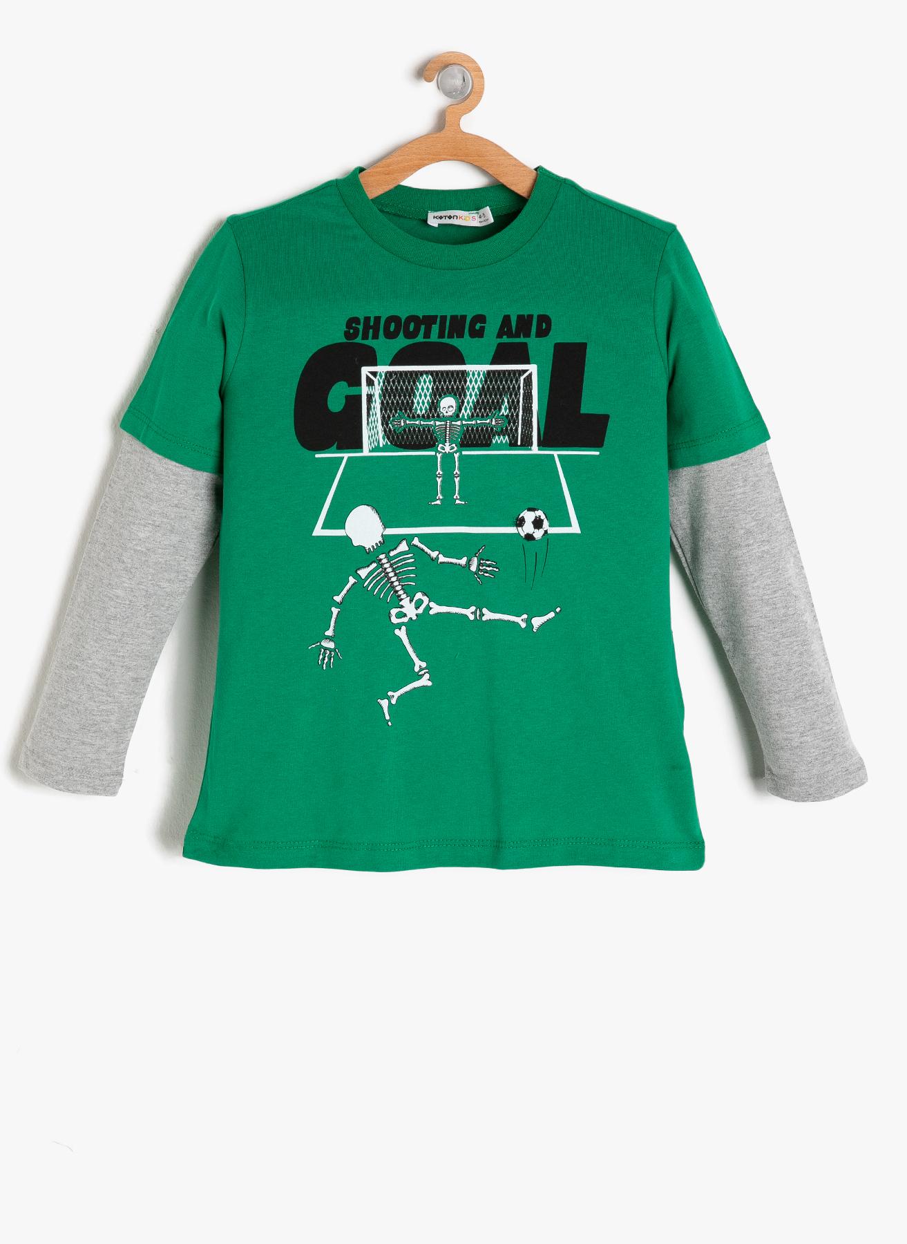 Koton Baskılı Yeşil-Gri T-Shirt 3 Yaş 5001703307002 Ürün Resmi