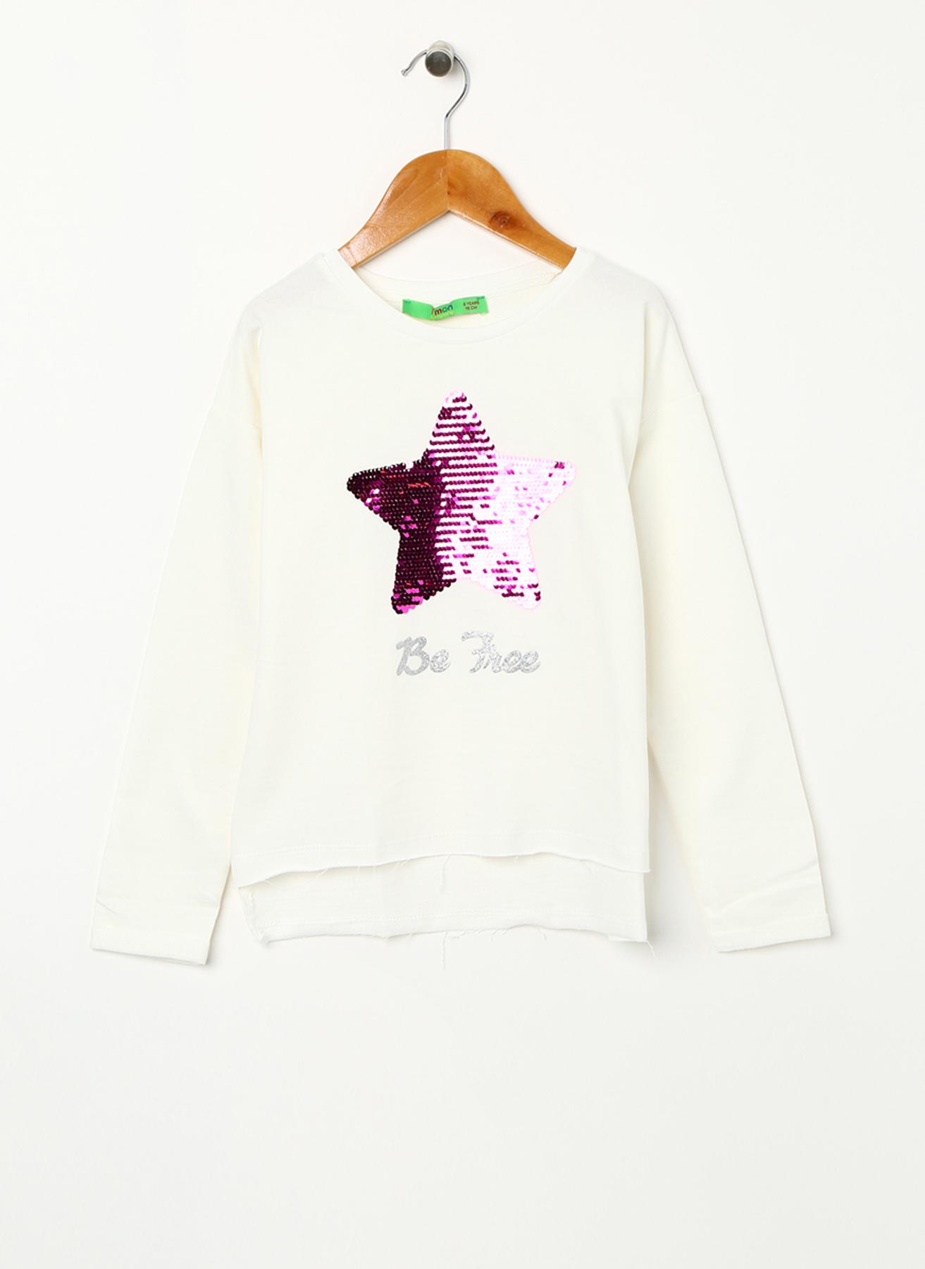 Limon Pullu Yıldız İşlemeli Sweatshirt 11-12 Yaş 5001703473007 Ürün Resmi