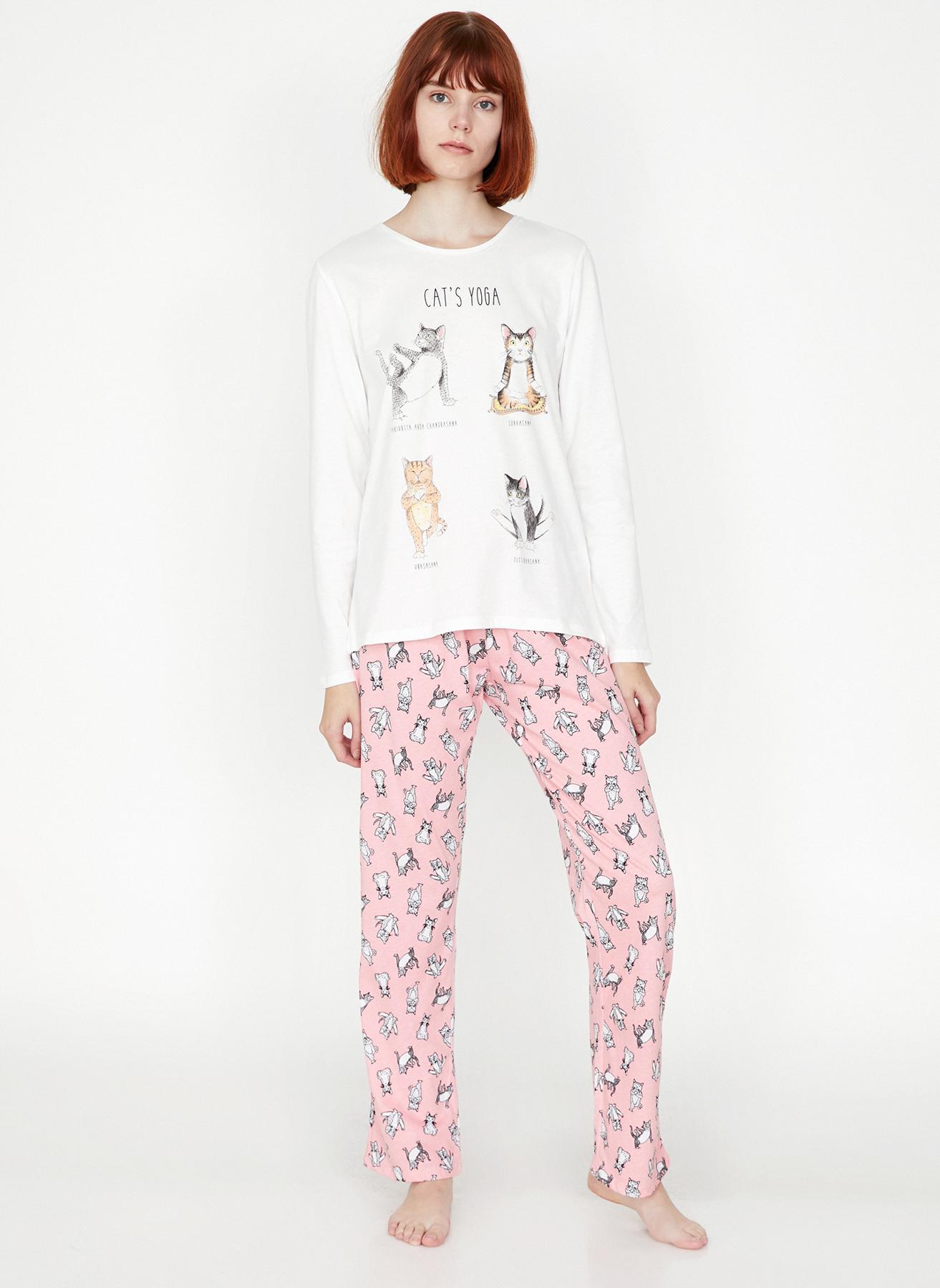 4cbf8ffe13504 L Somon Koton Kedi Baskılı 2'li Pijama Takımı 5001703594001 Kadın İç Giyim