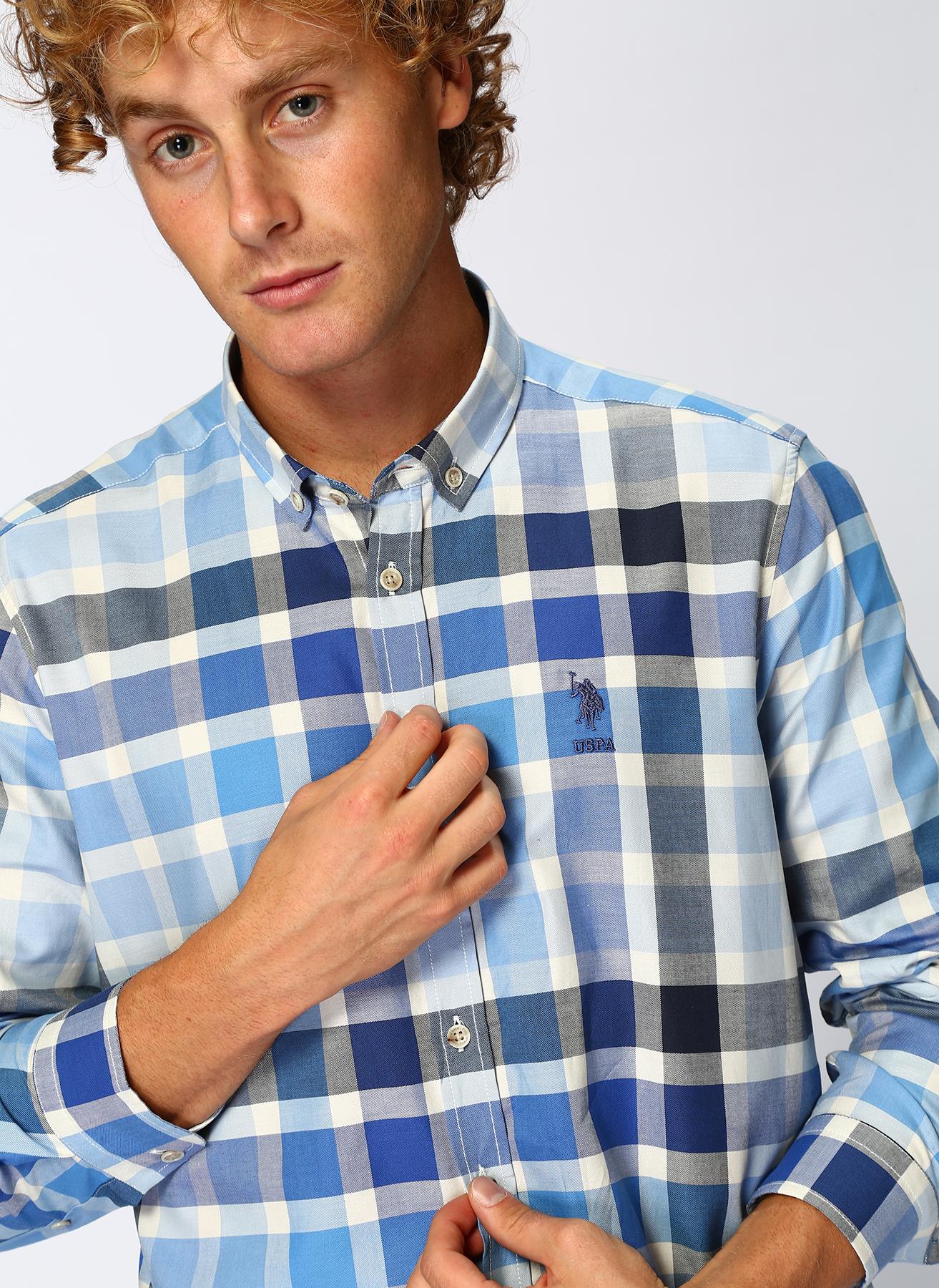 U.S. Polo Assn. Ekoseli Mavi Gömlek 2XL 5001704564006 Ürün Resmi