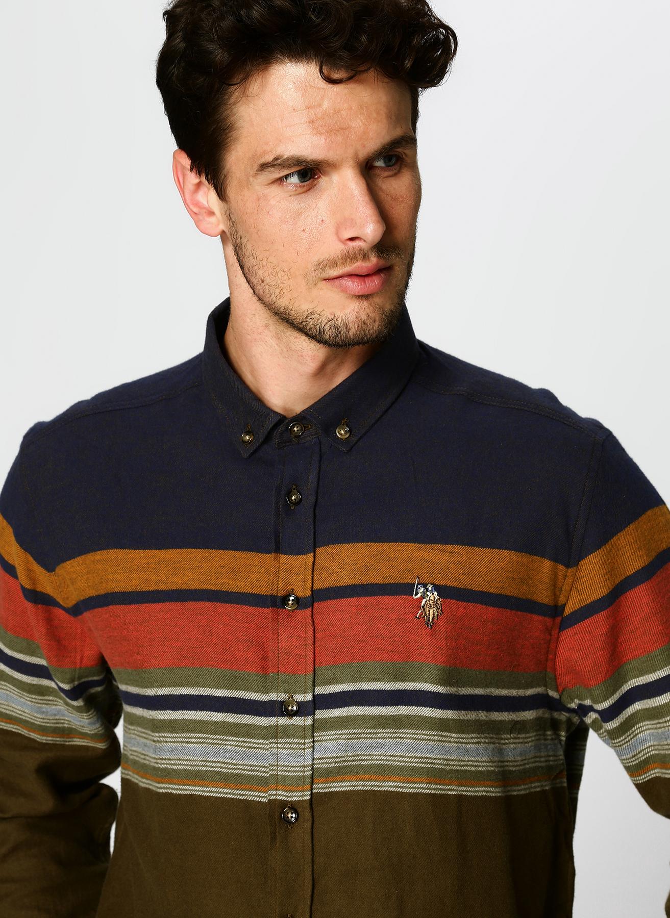 U.S. Polo Assn. Çizgili Haki Gömlek L 5001704599005 Ürün Resmi