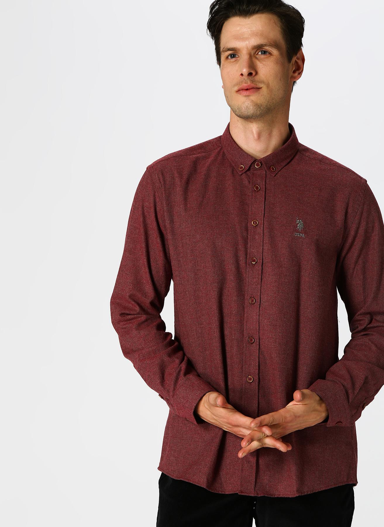 U.S. Polo Assn. Slim Fit Bordo Gömlek 2XL 5001704683005 Ürün Resmi