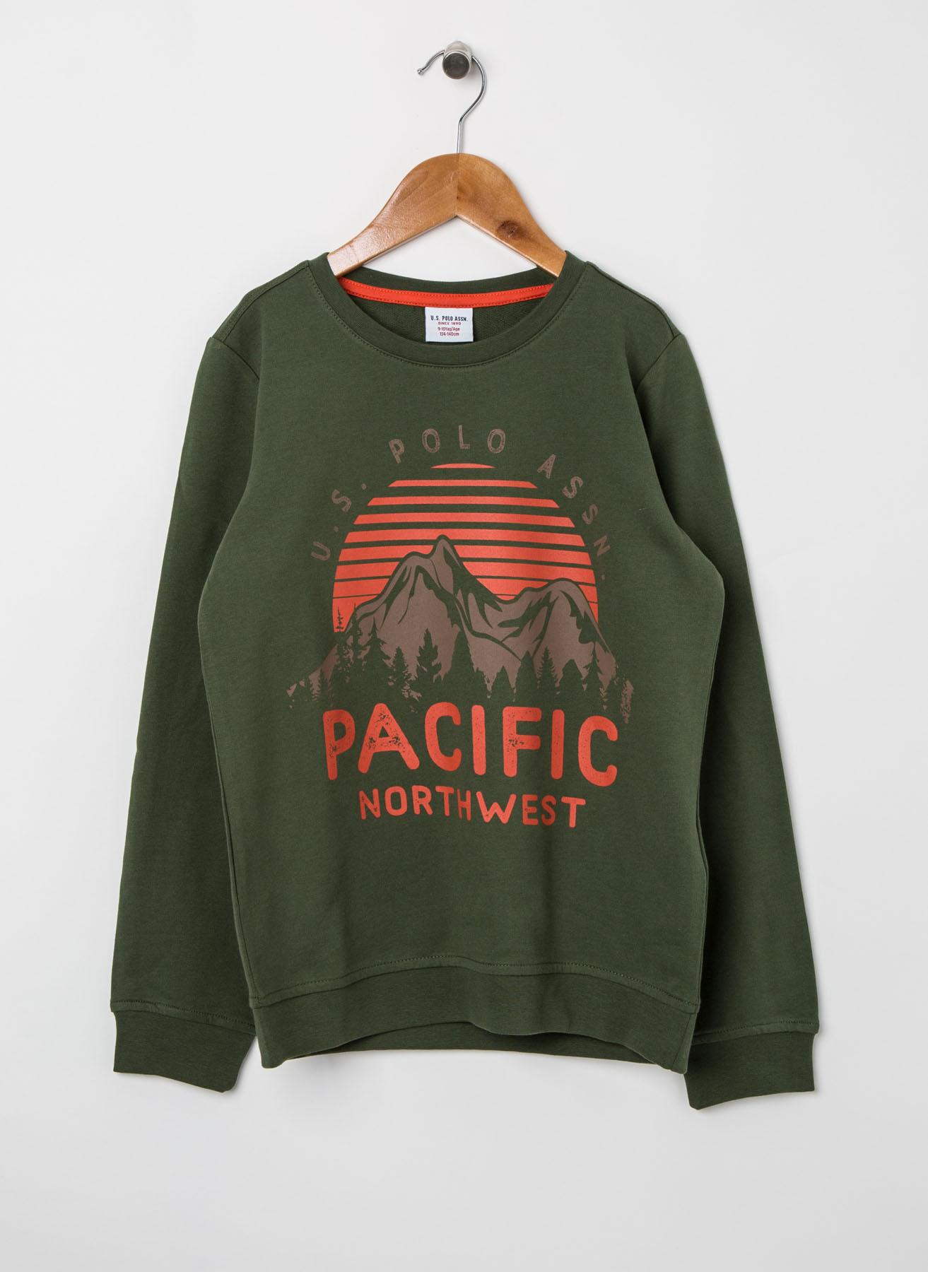 U.S. Polo Assn. Genç Erkek Baskılı Yeşil Sweatshirt 11 Yaş 5001704698002 Ürün Resmi