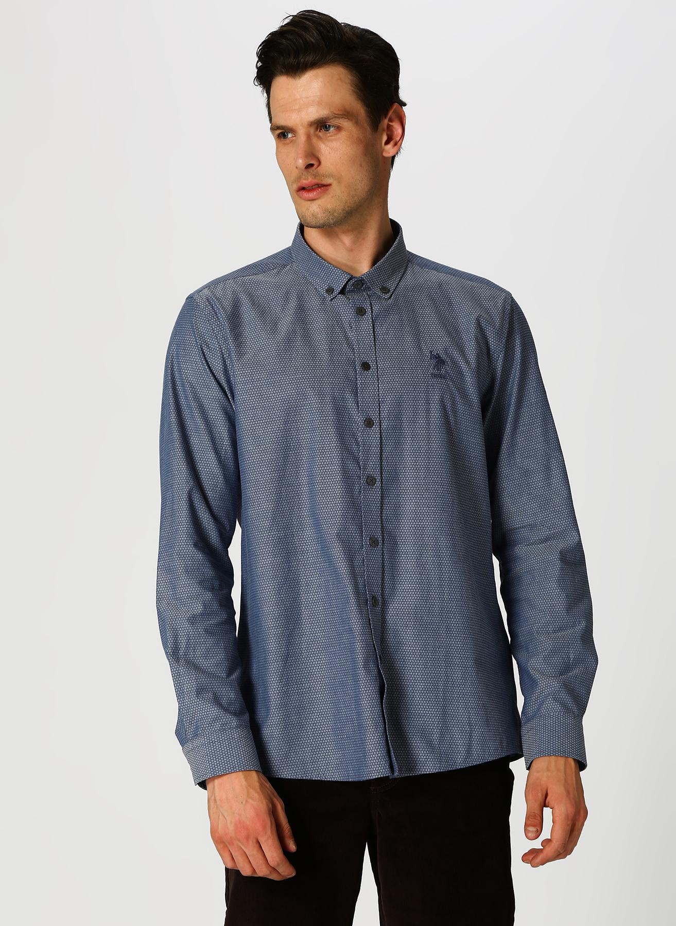U.S. Polo Assn. Desenli Mavi Gömlek M 5001704715003 Ürün Resmi