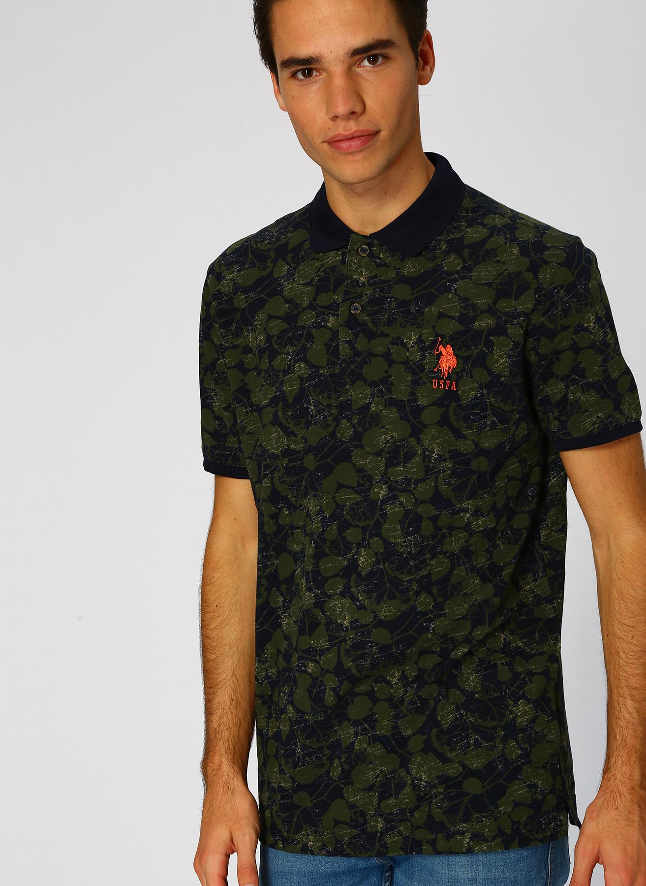 U.S. Polo Assn. Desenli Yeşil T-Shirt L 5001704736003 Ürün Resmi