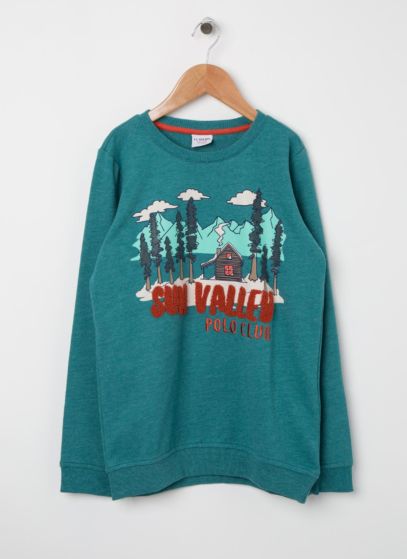 U.S. Polo Assn. Genç Erkek Kabartma Yazılı Mint Sweatshirt 13 Yaş 5001704749004 Ürün Resmi