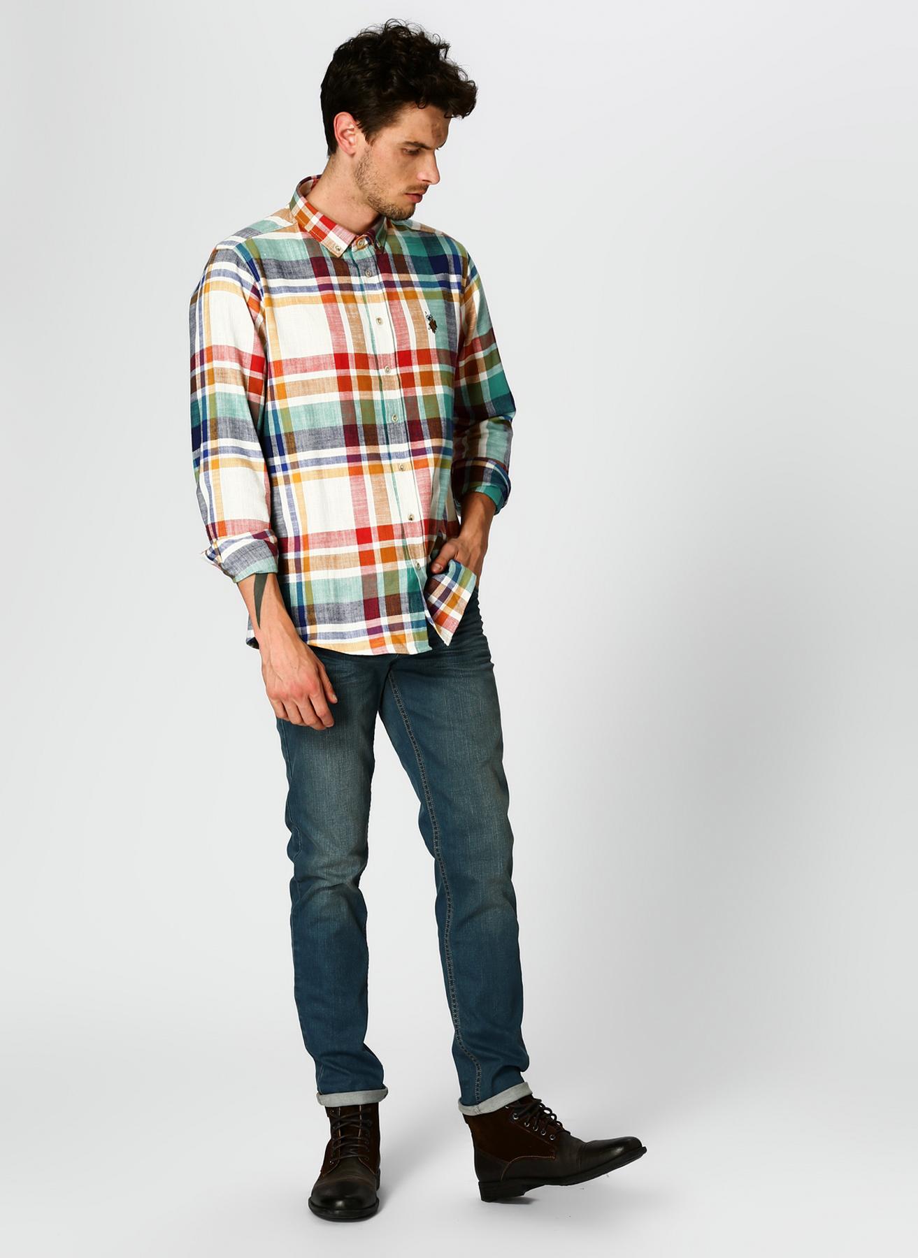 U.S. Polo Assn. Ekoseli Renkli Denim Pantolon 36-32 5001704813003 Ürün Resmi
