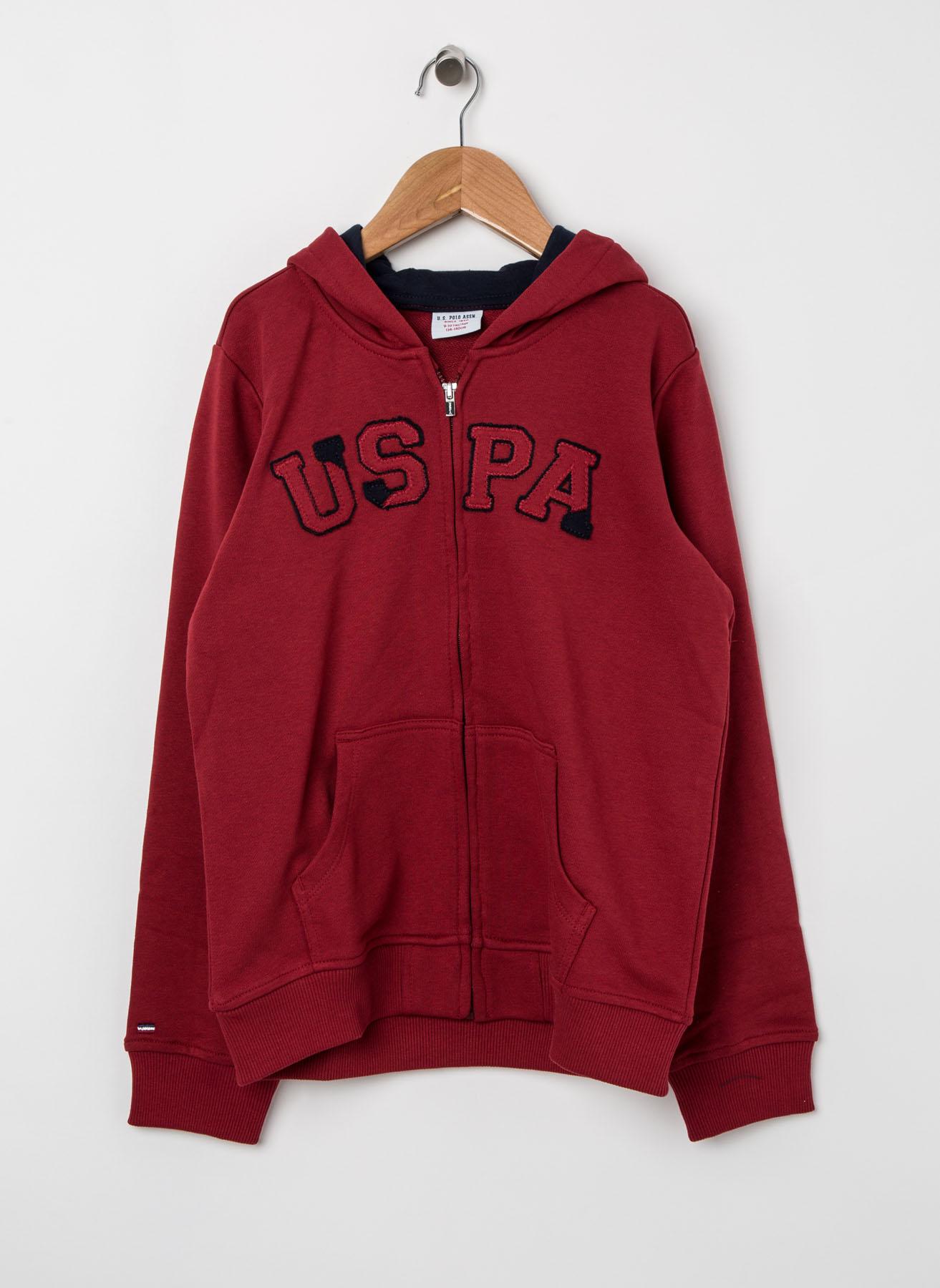 U.S. Polo Assn. Genç Erkek Kapüşonlu Bordo Sweatshirt 11 Yaş 5001704881002 Ürün Resmi