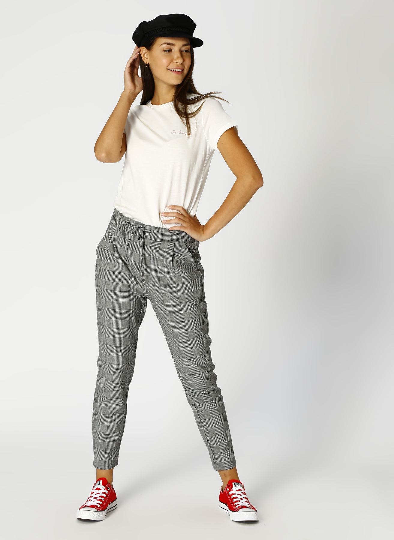 Vero Moda Kareli Gri Pantolon L 5001705267001 Ürün Resmi