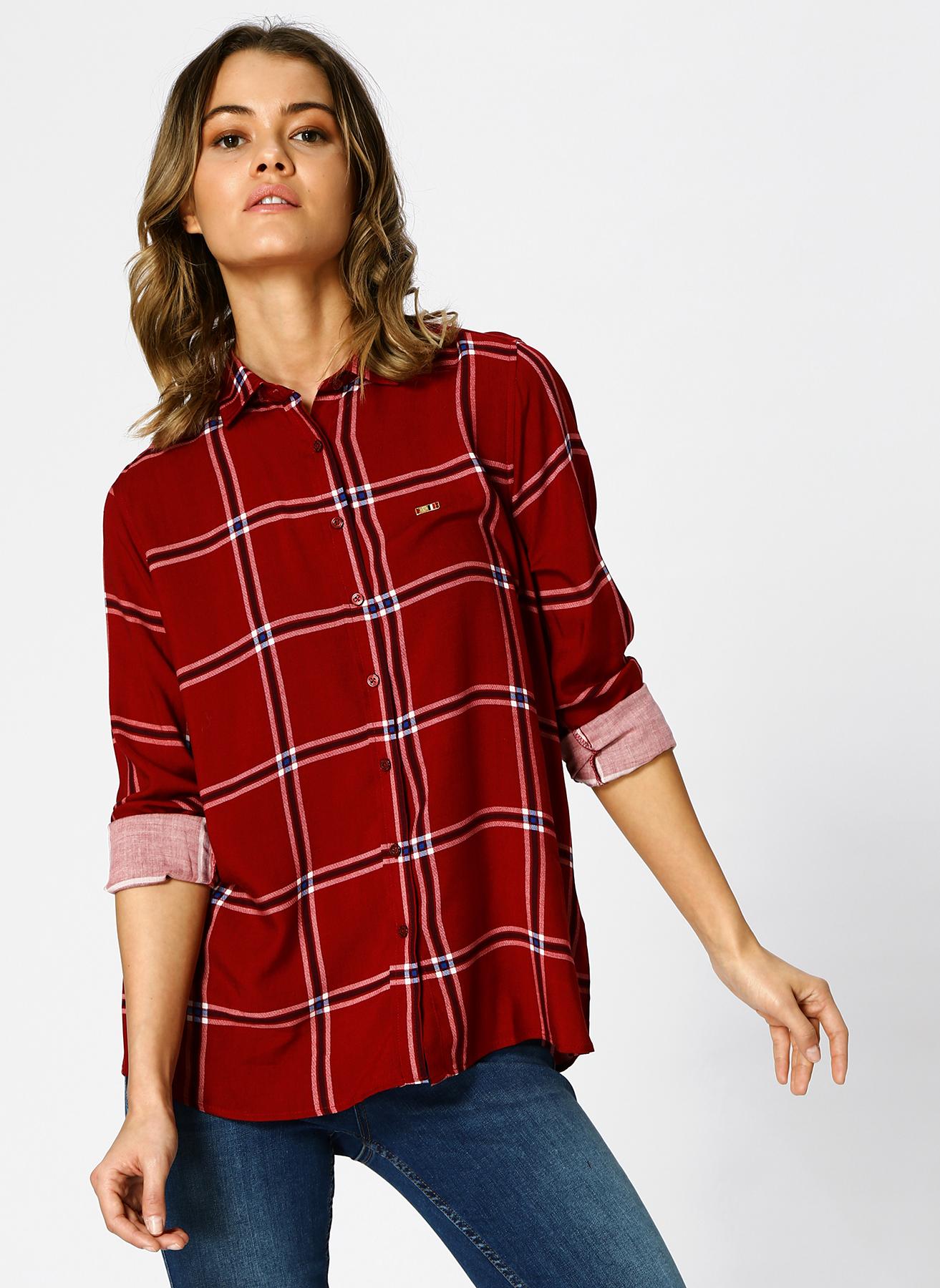 U.S. Polo Assn. Kareli Bordo Gömlek 34 5001733209001 Ürün Resmi