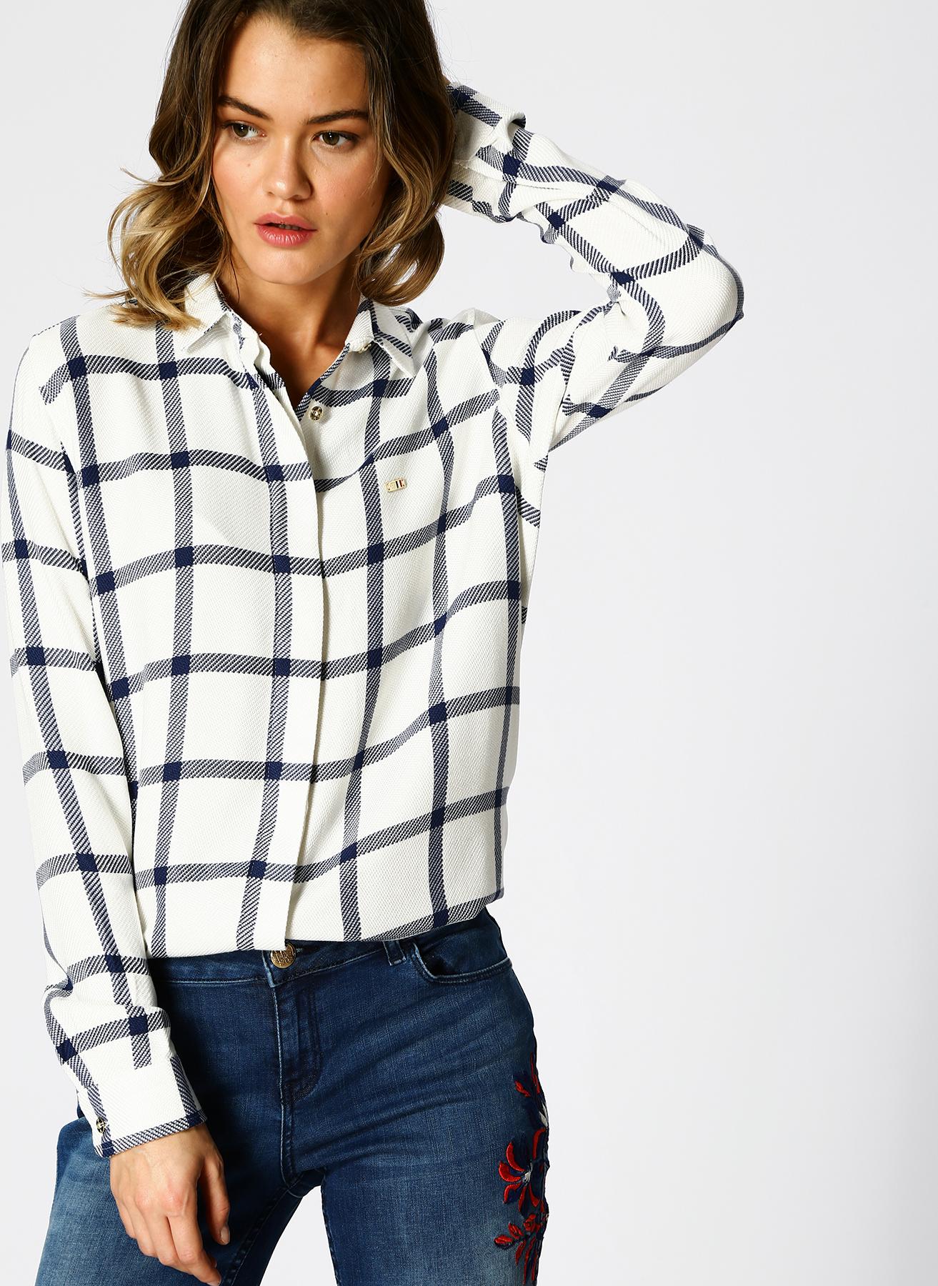 U.S. Polo Assn. Kareli Beyaz-Lacivert Gömlek 44 5001733294001 Ürün Resmi