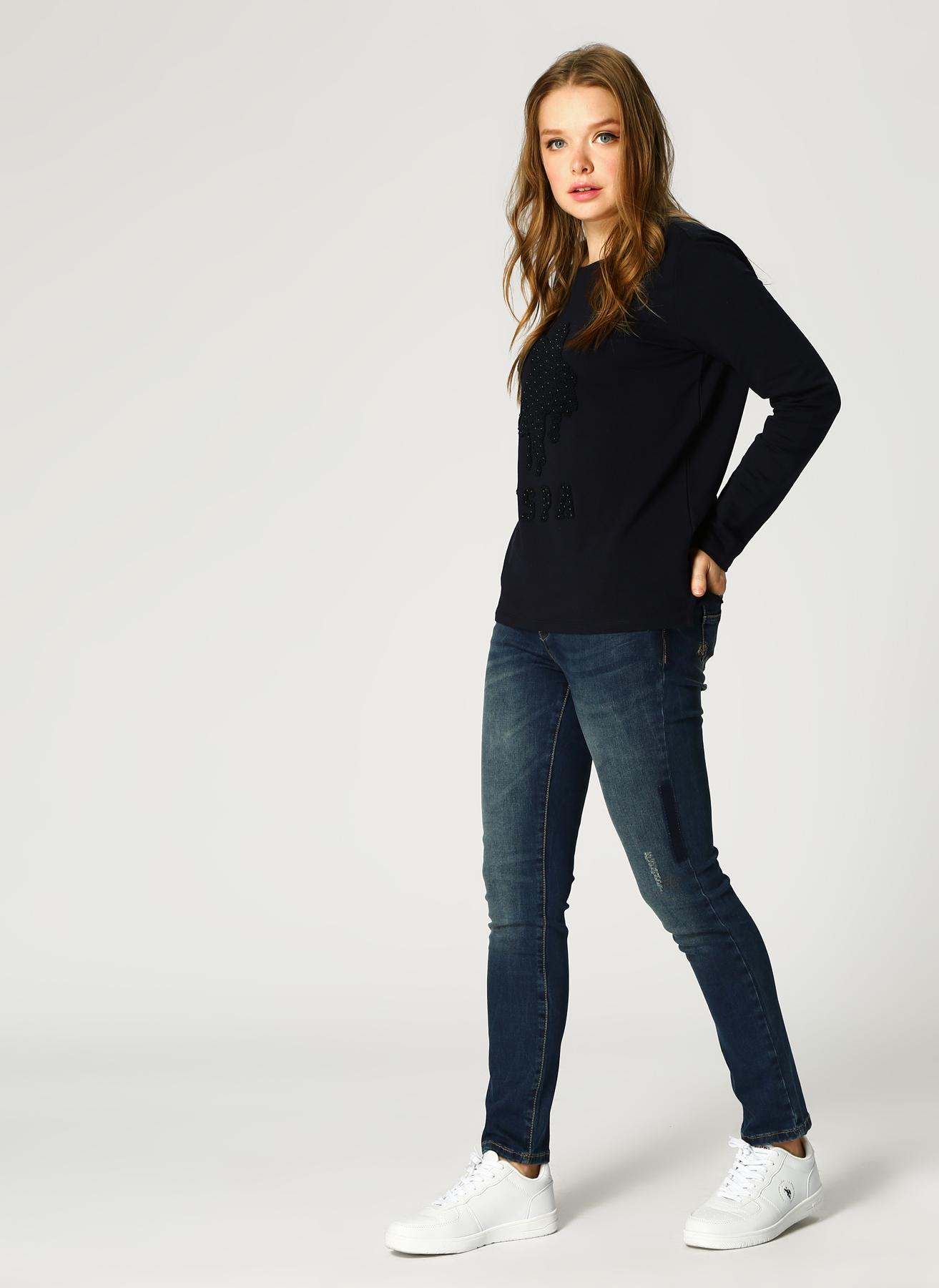 U.S. Polo Assn. Eskitme Tasarımlı Mavi Pantolon 44 5001733407003 Ürün Resmi