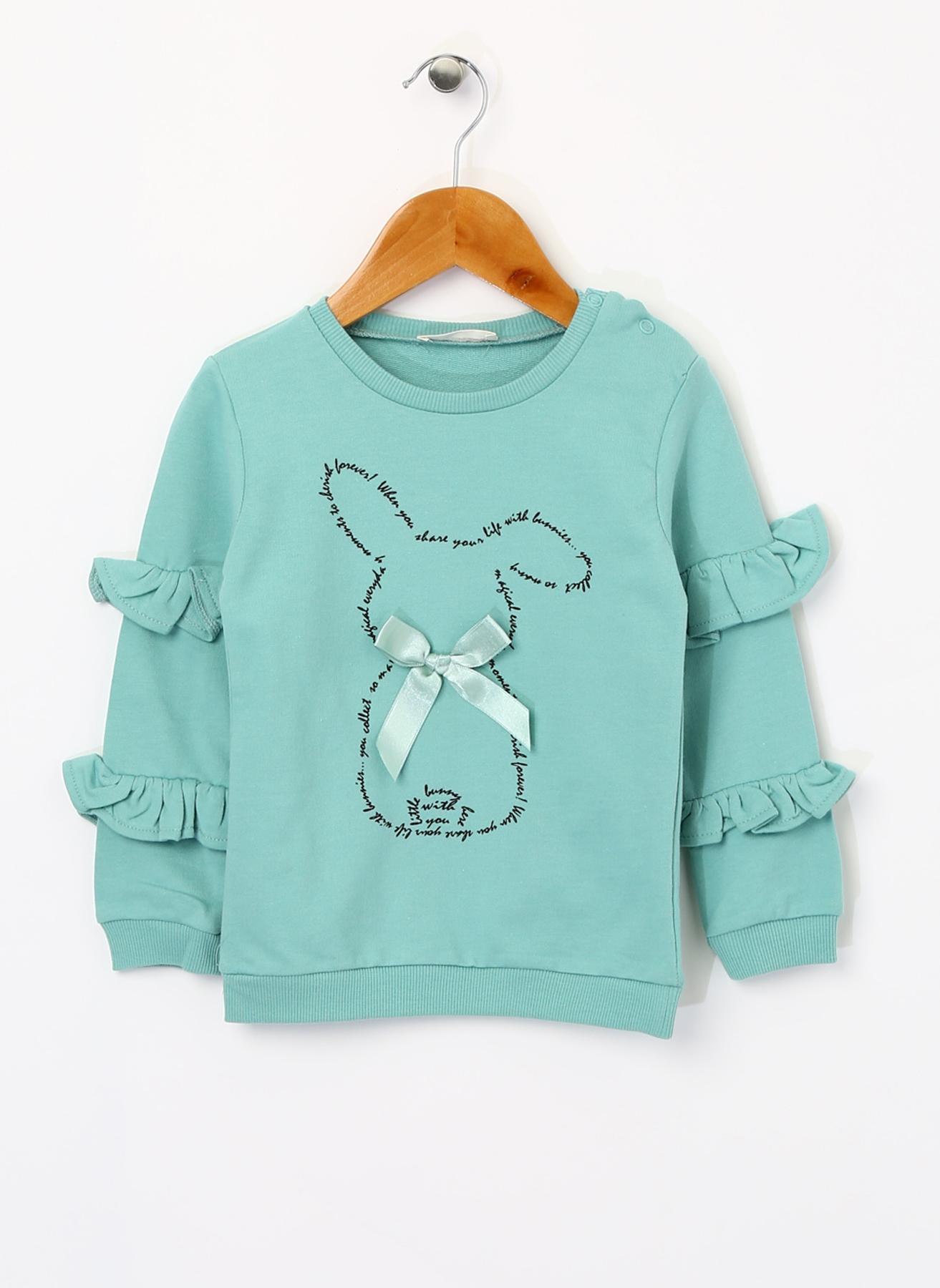 Mammaramma Kız Bebek Tavşan BaskılI Mint Sweatshirt 2 Yaş 5001822175001 Ürün Resmi