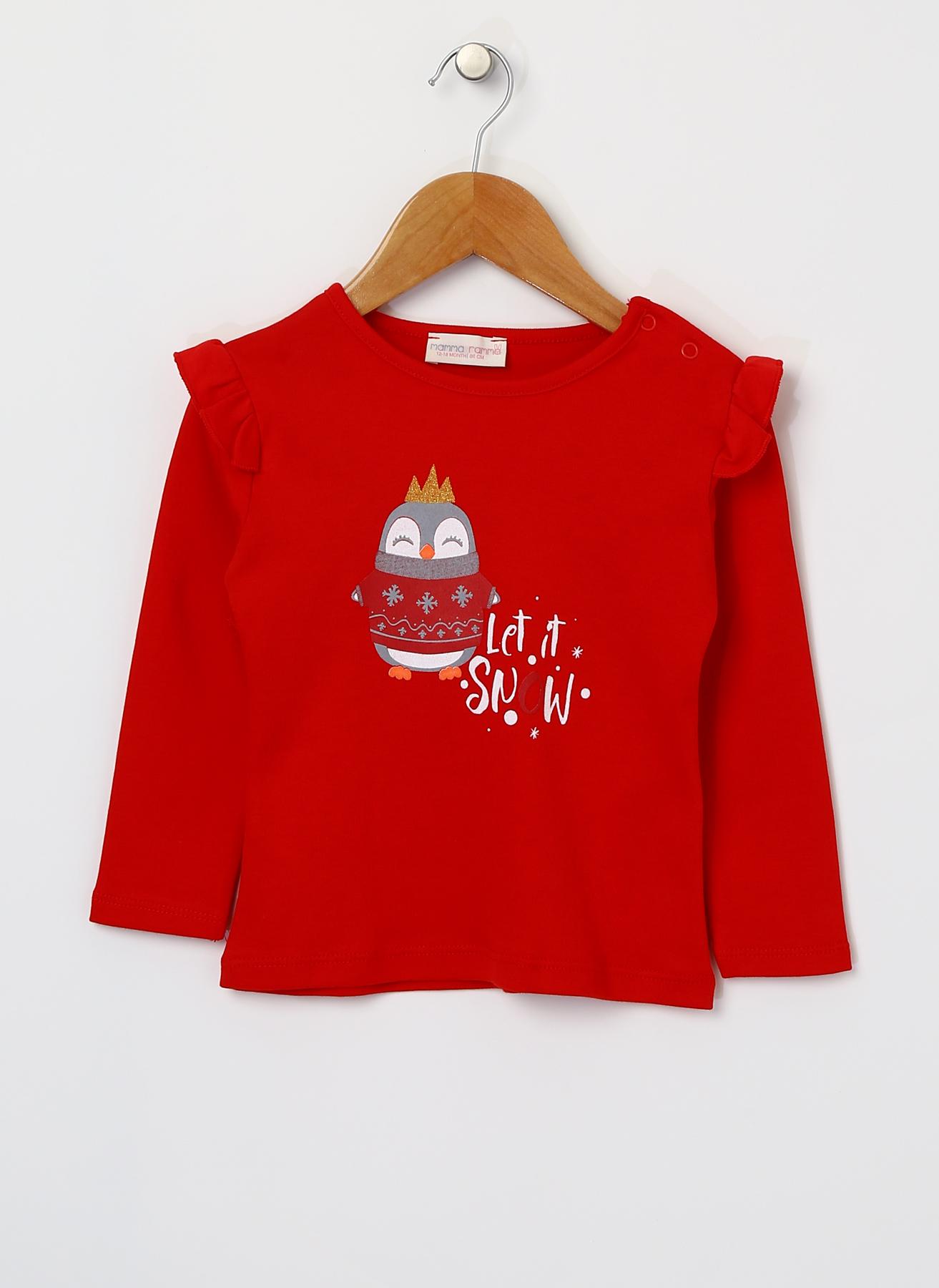 Mammaramma Kız Bebek Baskılı Kırmızı T-Shirt 9 Ay 5001823021002 Ürün Resmi