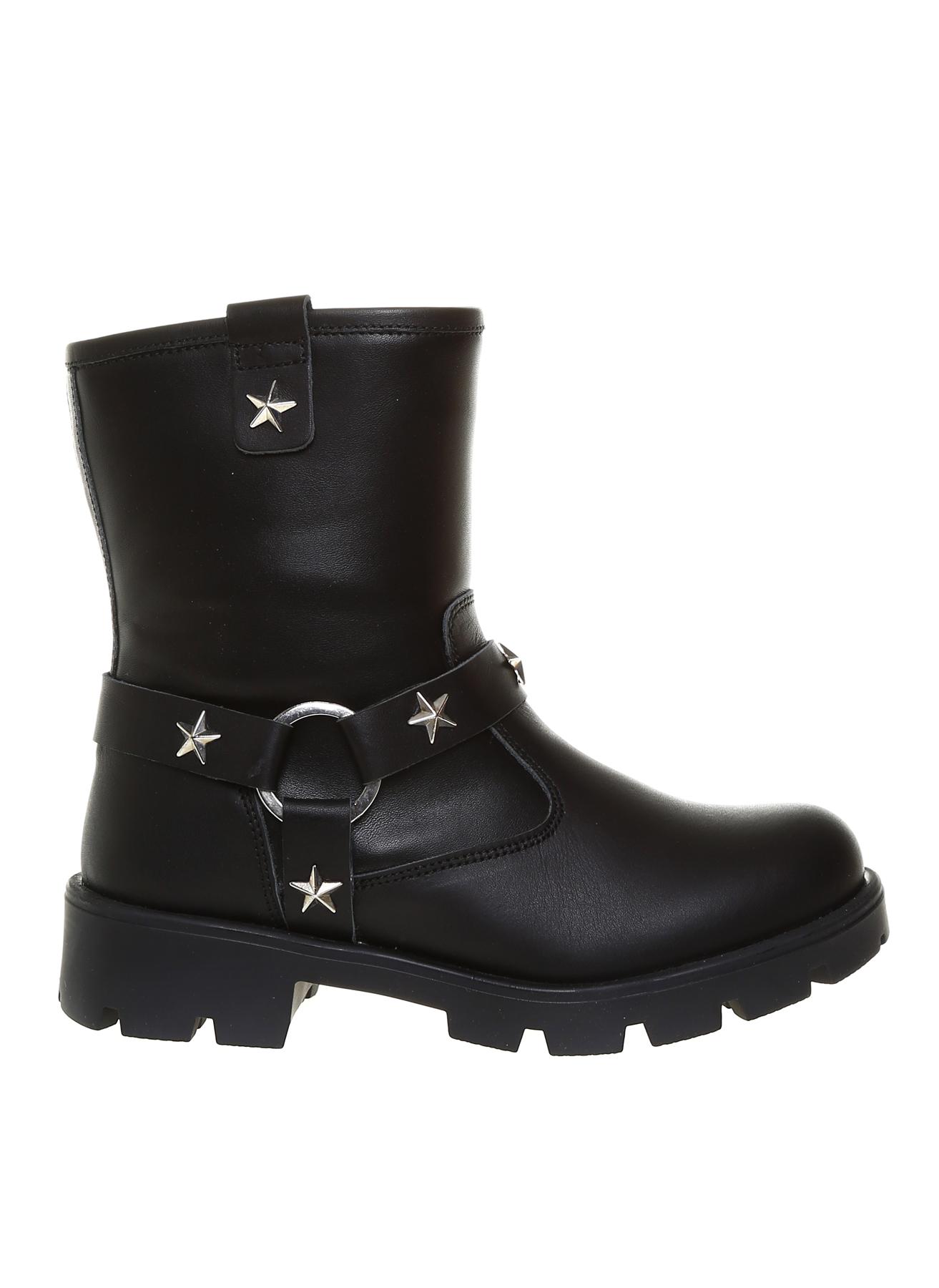 35 Kadın Siyah Pink&Orange Kız Çocuk Zımba Detaylı Deri Bot 5001915980005 Ayakkabı Çanta Ayakkabıları Çizmeler