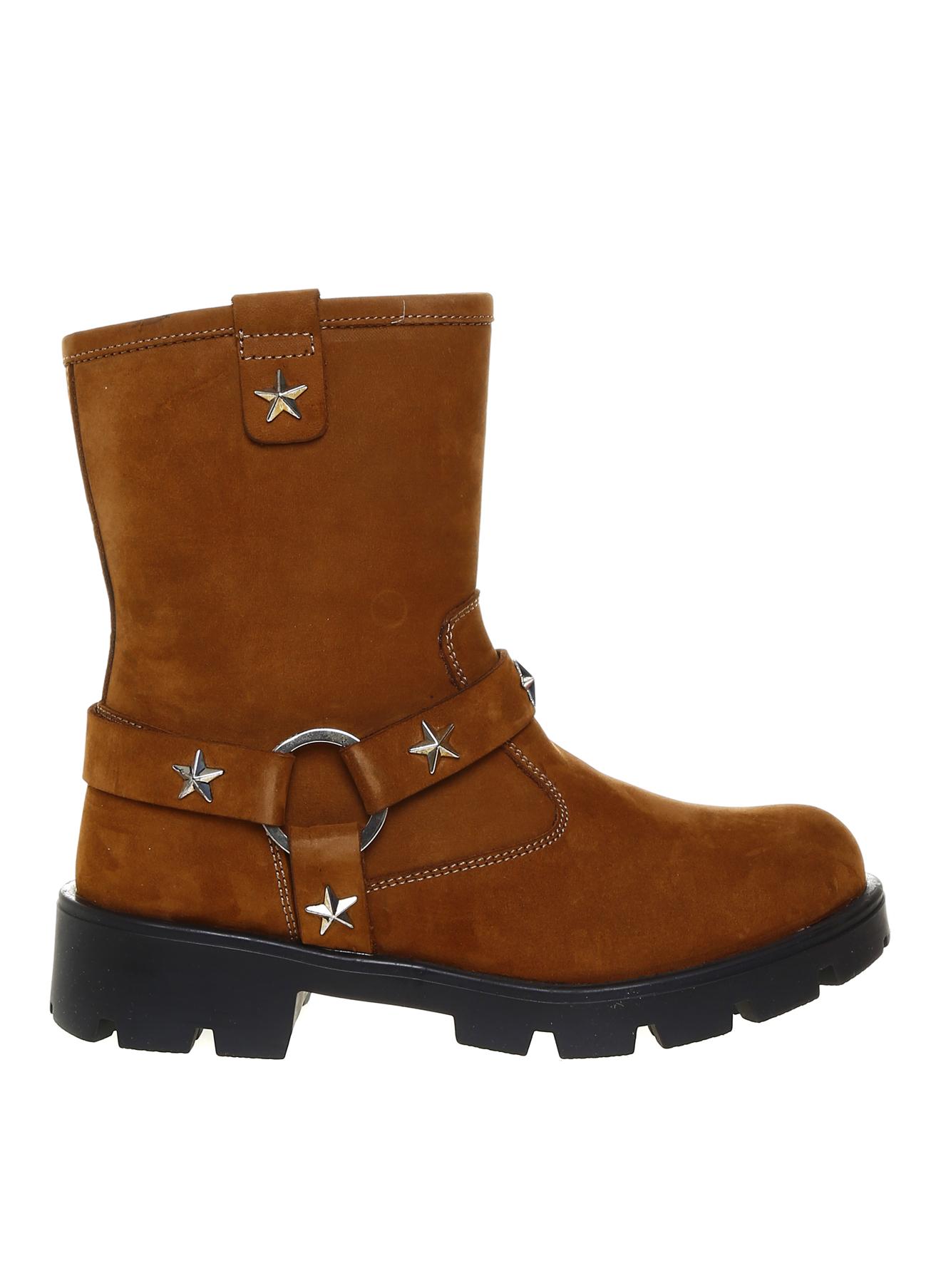 31 Kadın Tarçın Pink&Orange Kız Çocuk Zımba Detaylı Deri Bot 5001915981001 Ayakkabı Çanta Ayakkabıları Çizmeler