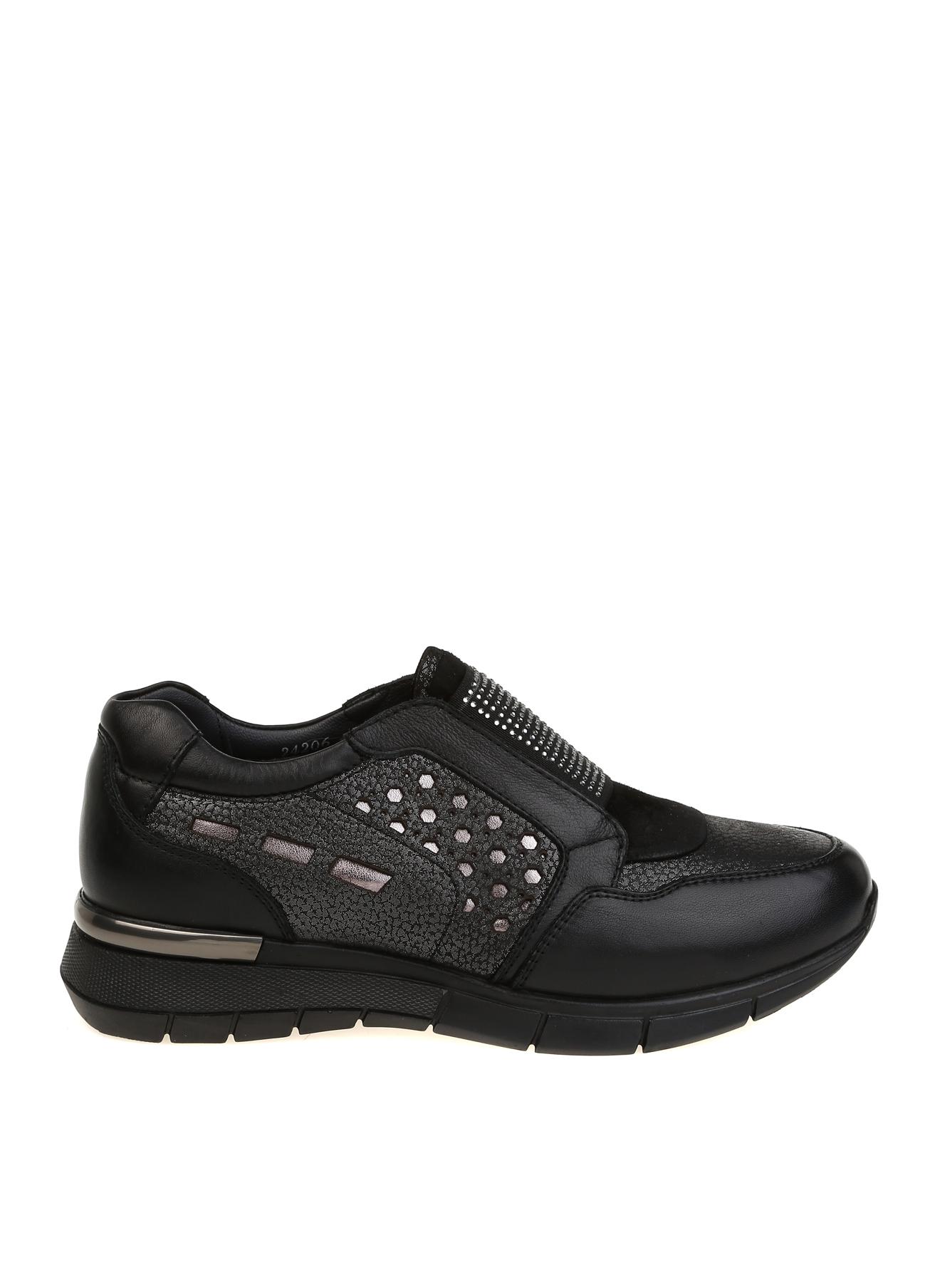 Forelli Taş İşlemeli Deri Siyah Düz Ayakkabı 39 5001921028004 Ürün Resmi