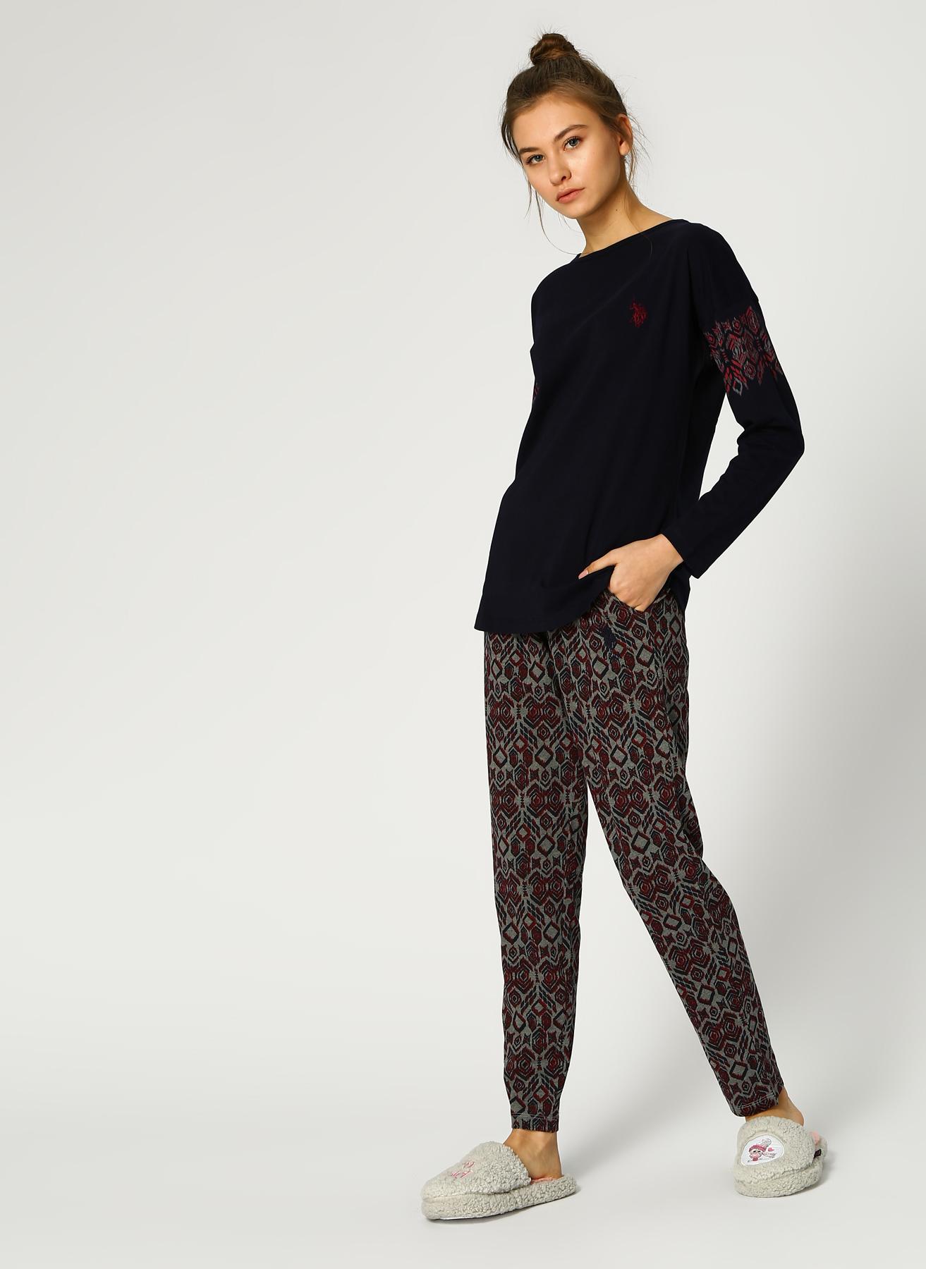 U.S. Polo Assn. Etnik Desenli Lacivert-Kırmızı Pijama Takımı M 5001947077003 Ürün Resmi