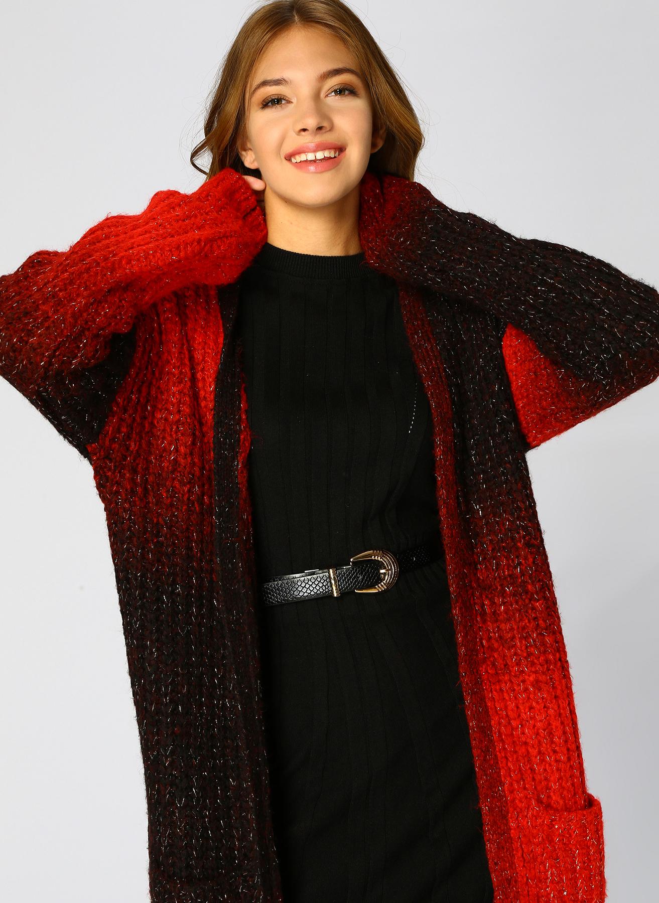 Loft Salaş Kırmızı-Siyah Hırka S 5001976856003 Ürün Resmi