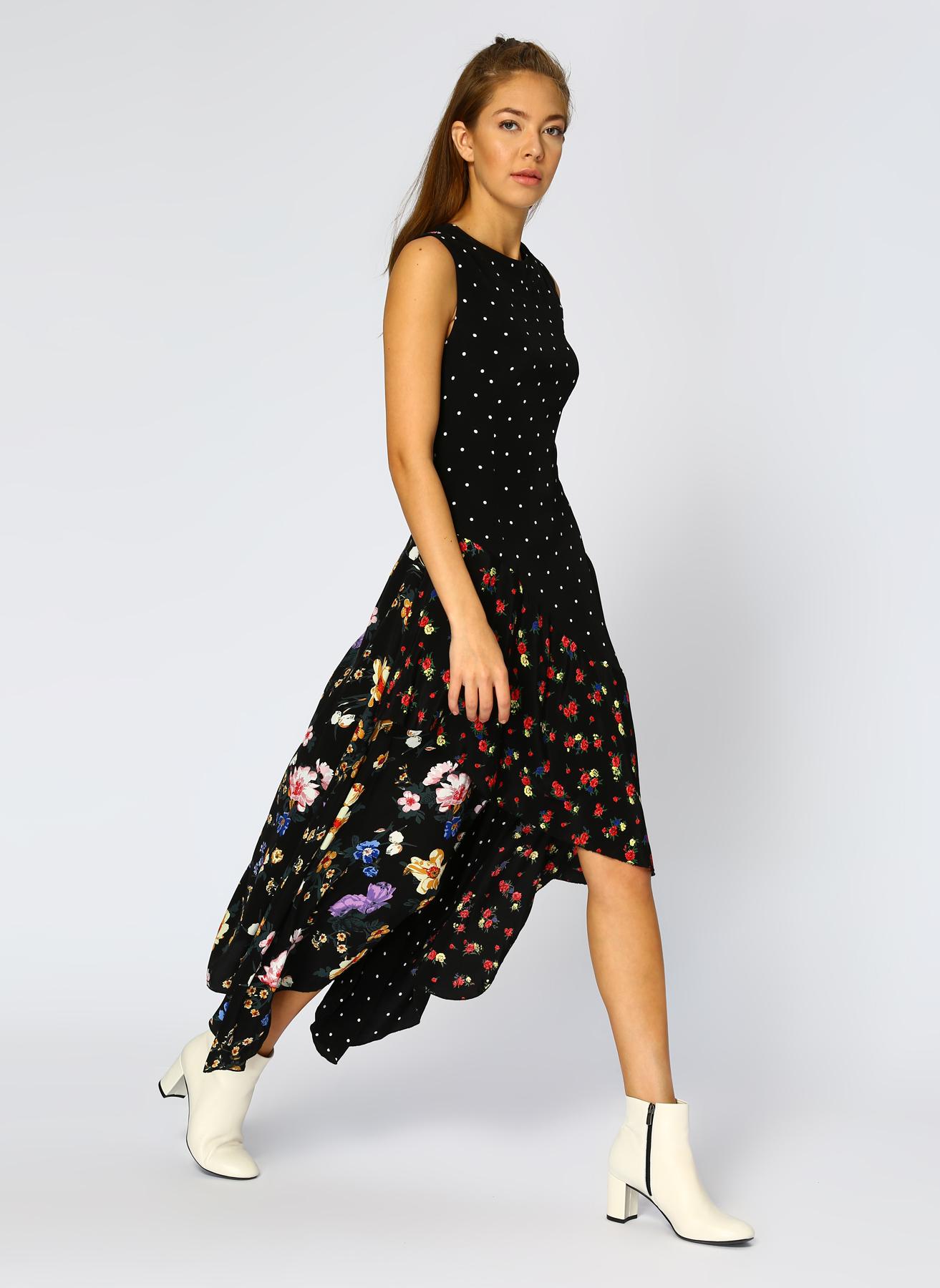 İpekyol Çiçek Desenli-Puantiyeli Siyah Elbise 36 5002041110001 Ürün Resmi