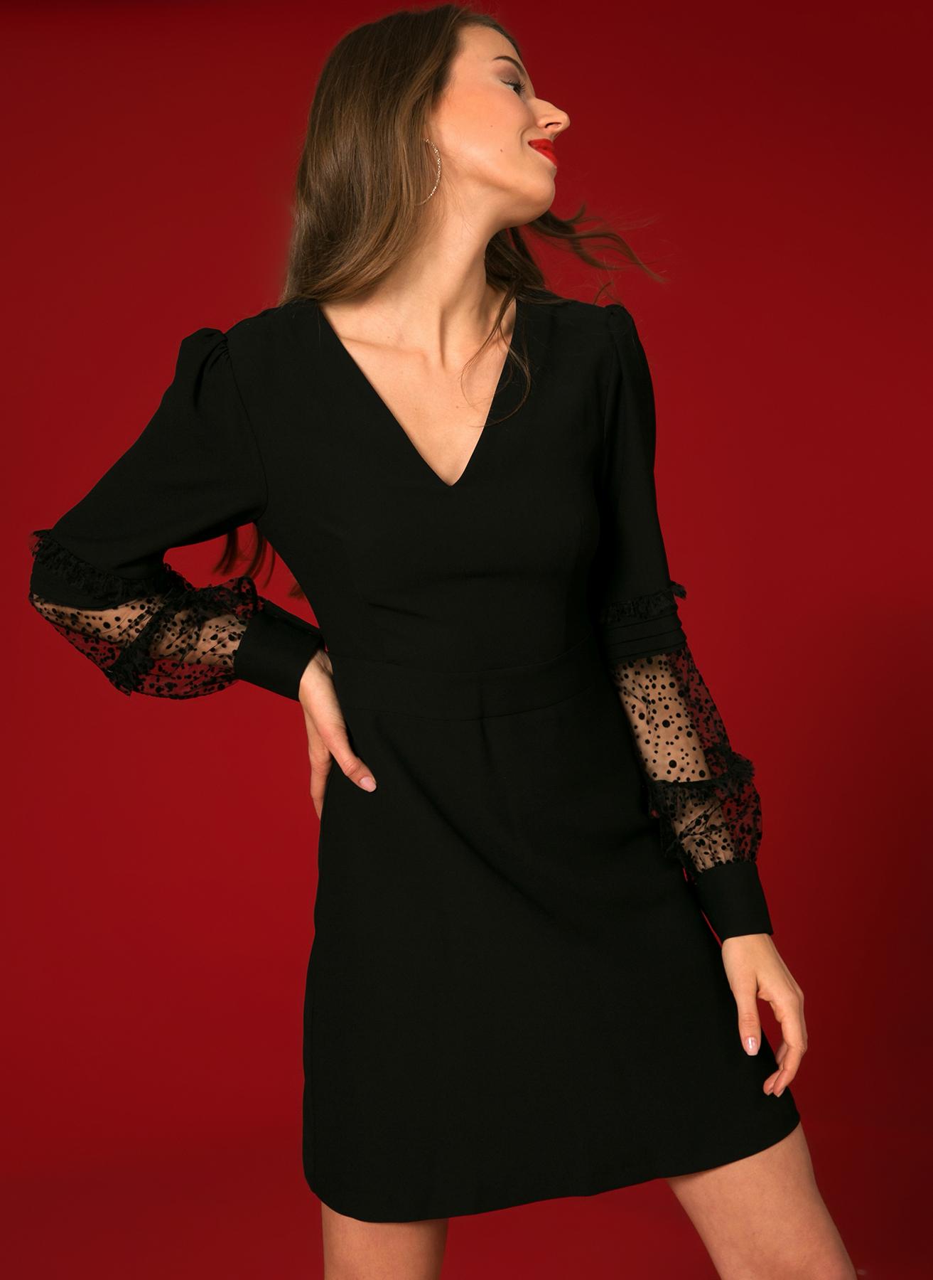 İpekyol Kol Detaylı Siyah Mini Elbise 36 5002301052002 Ürün Resmi
