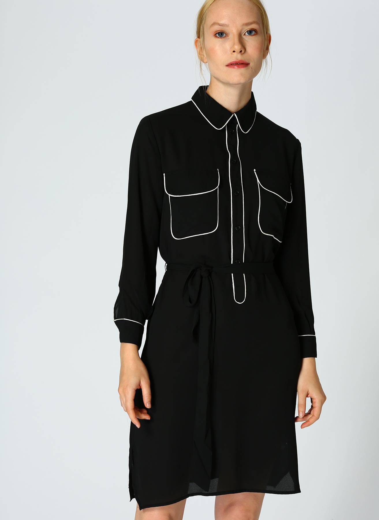 İpekyol Cep Detaylı Siyah Elbise 38 5002301056003 Ürün Resmi