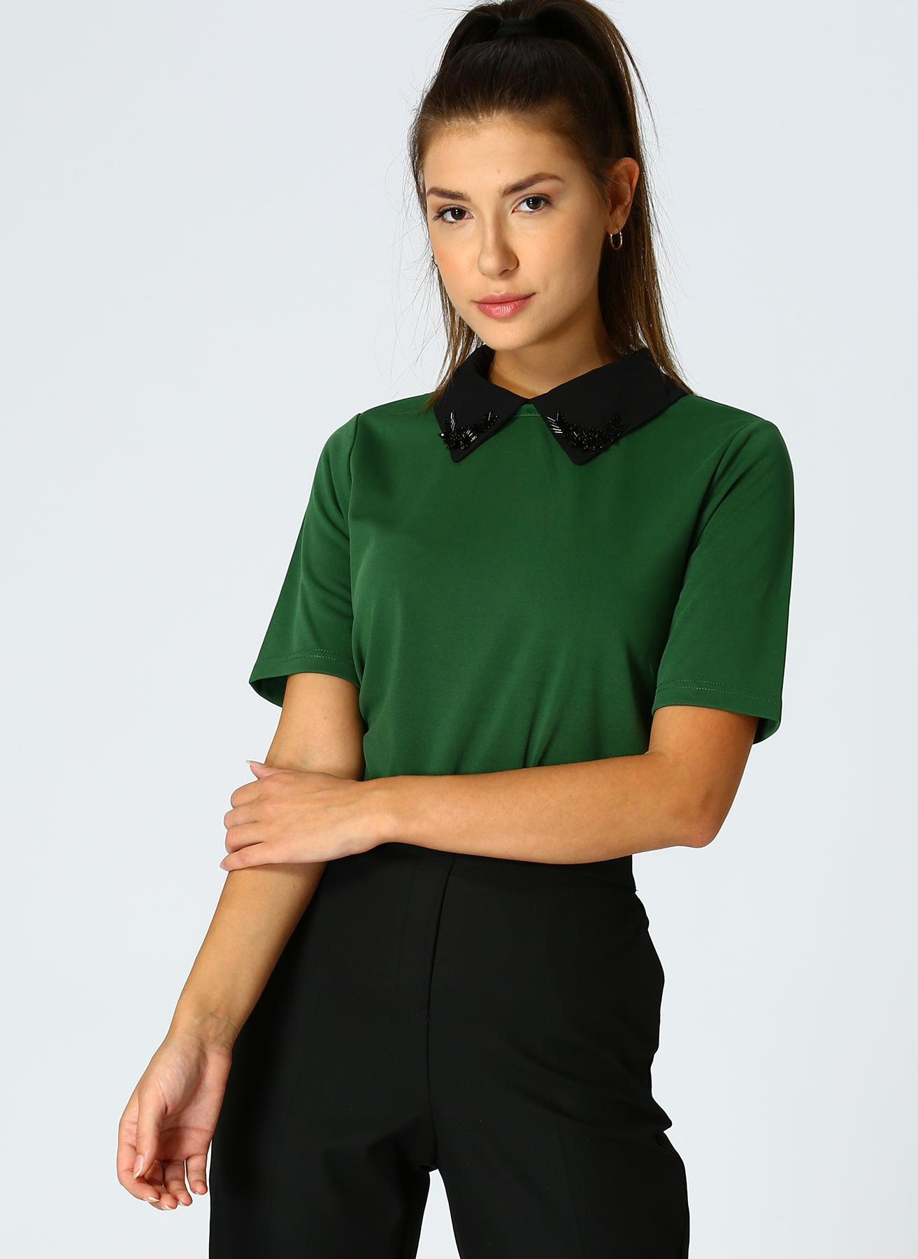 İpekyol Yaka Detaylı Yeşil Bluz 34 5002301137001 Ürün Resmi