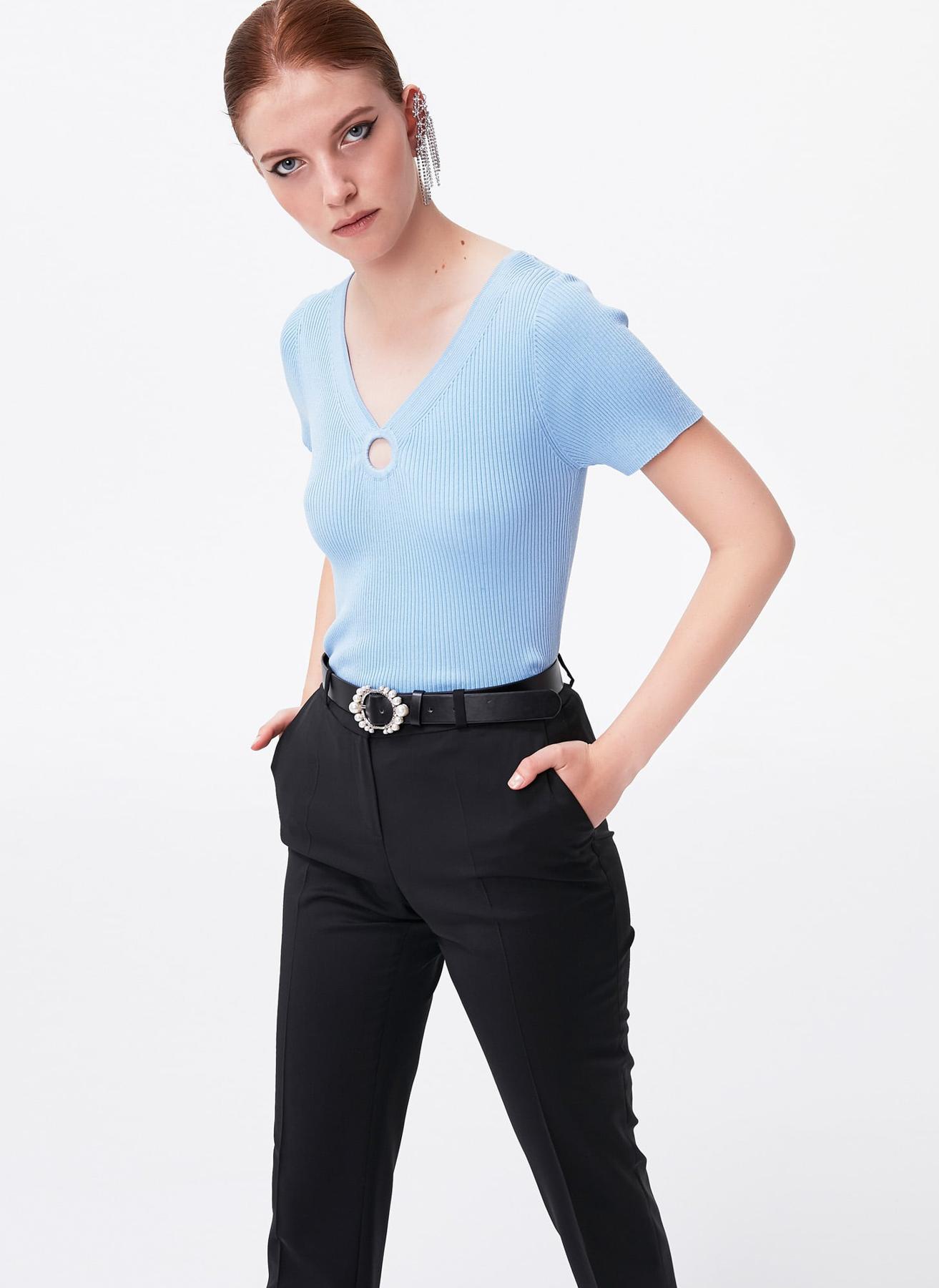İpekyol Yaka Detaylı Mavi Kazak M 5002301282002 Ürün Resmi