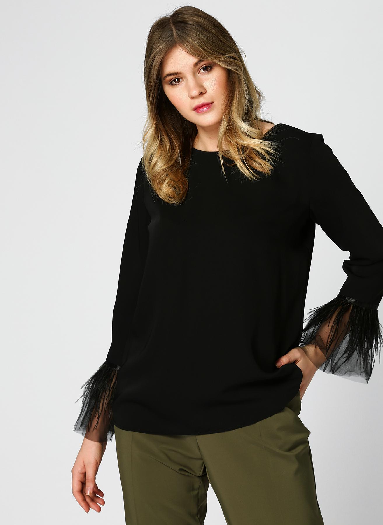 Pierre Cardin Kol Detaylı Siyah Bluz 40 5002313157002 Ürün Resmi