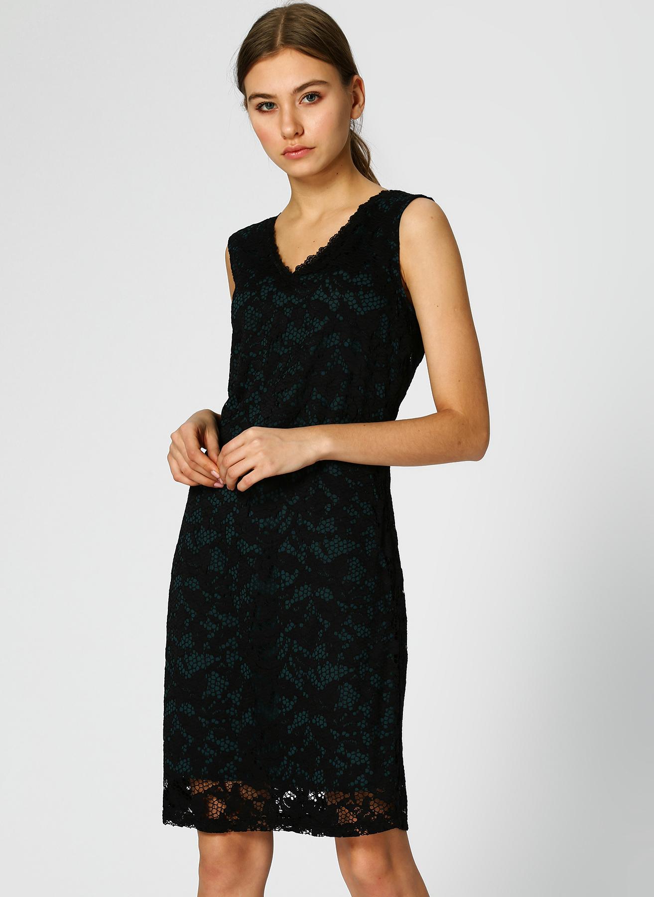 Pierre Cardin V Yaka Dantelli Koyu Yeşil Elbise 42 5002313194001 Ürün Resmi