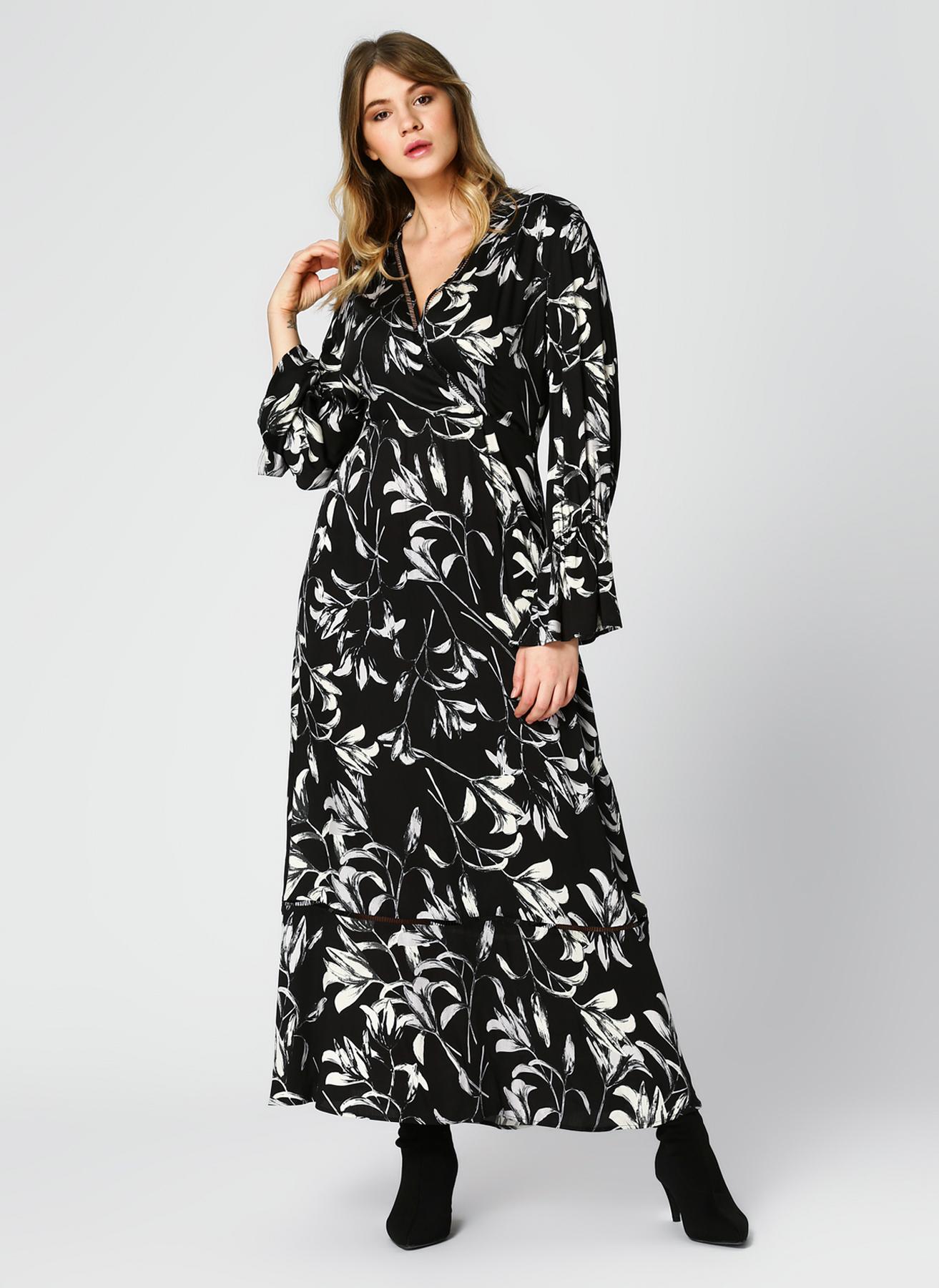 Pierre Cardin Çiçek Desenli Uzun Siyah-Beyaz Elbise 40 5002313196001 Ürün Resmi