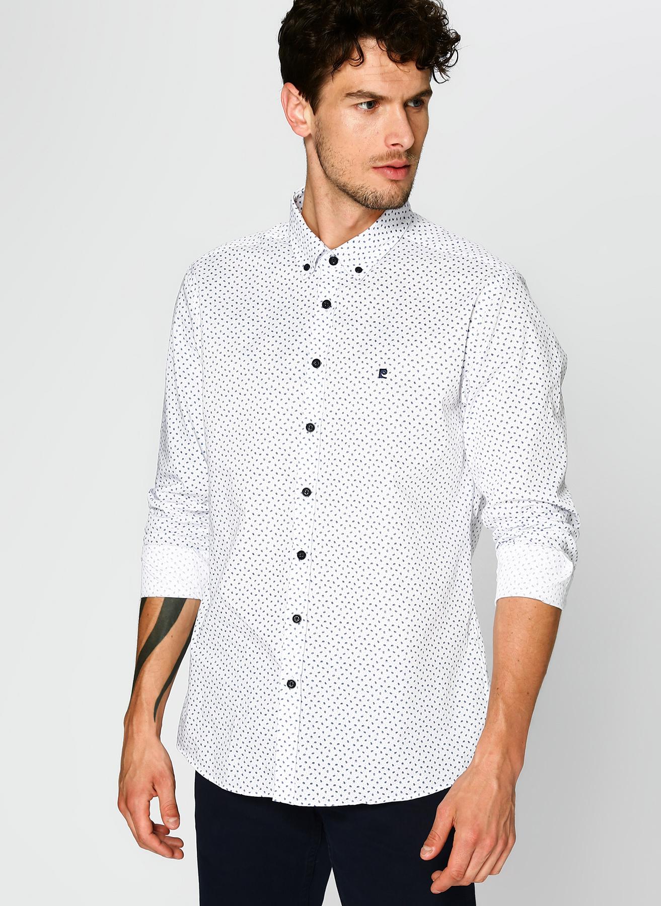 Pierre Cardin Desenli Beyaz Gömlek 3XL 5002313409002 Ürün Resmi