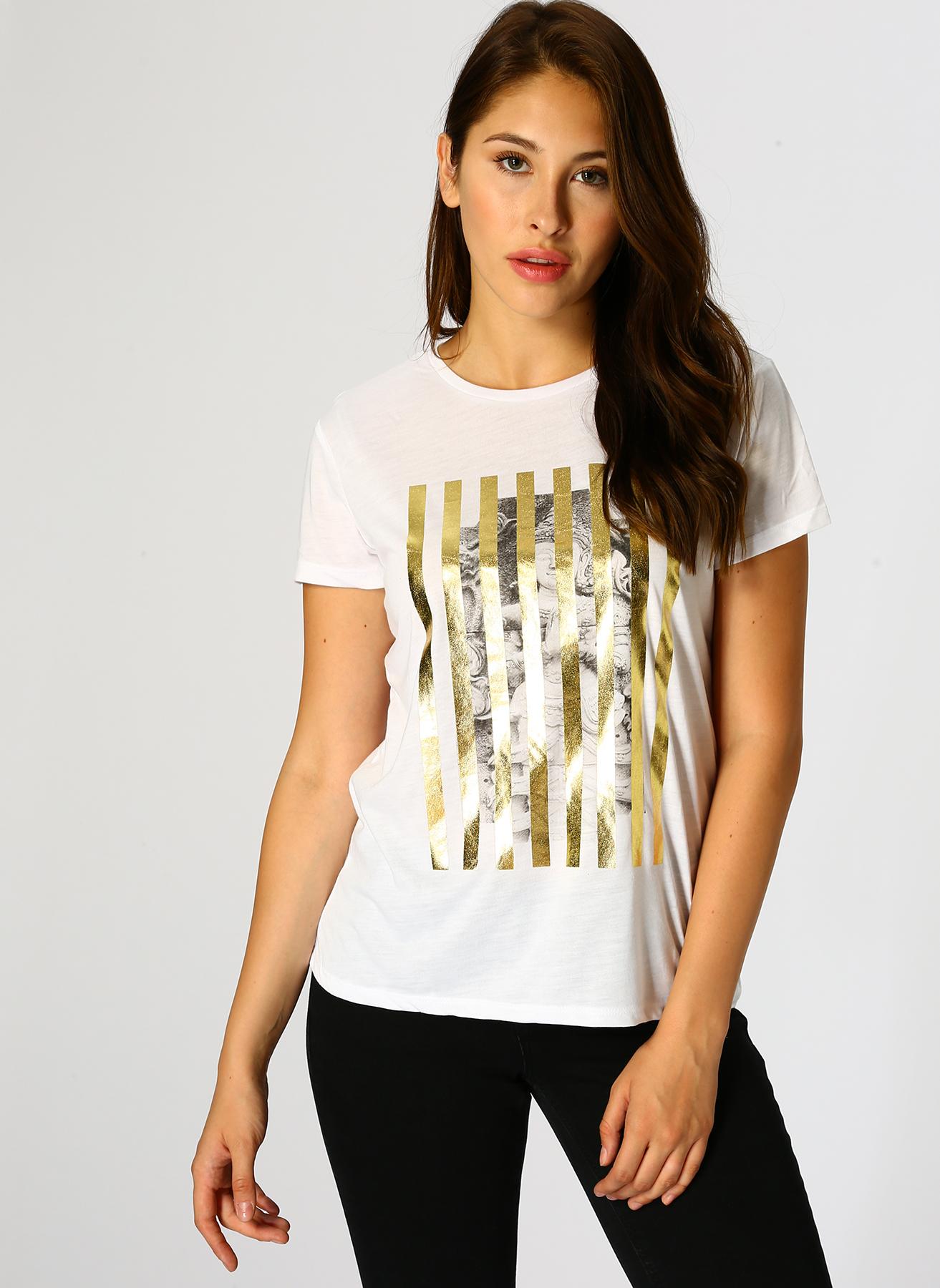 Koton Gold Baskılı Beyaz T-Shirt S 5002314165003 Ürün Resmi
