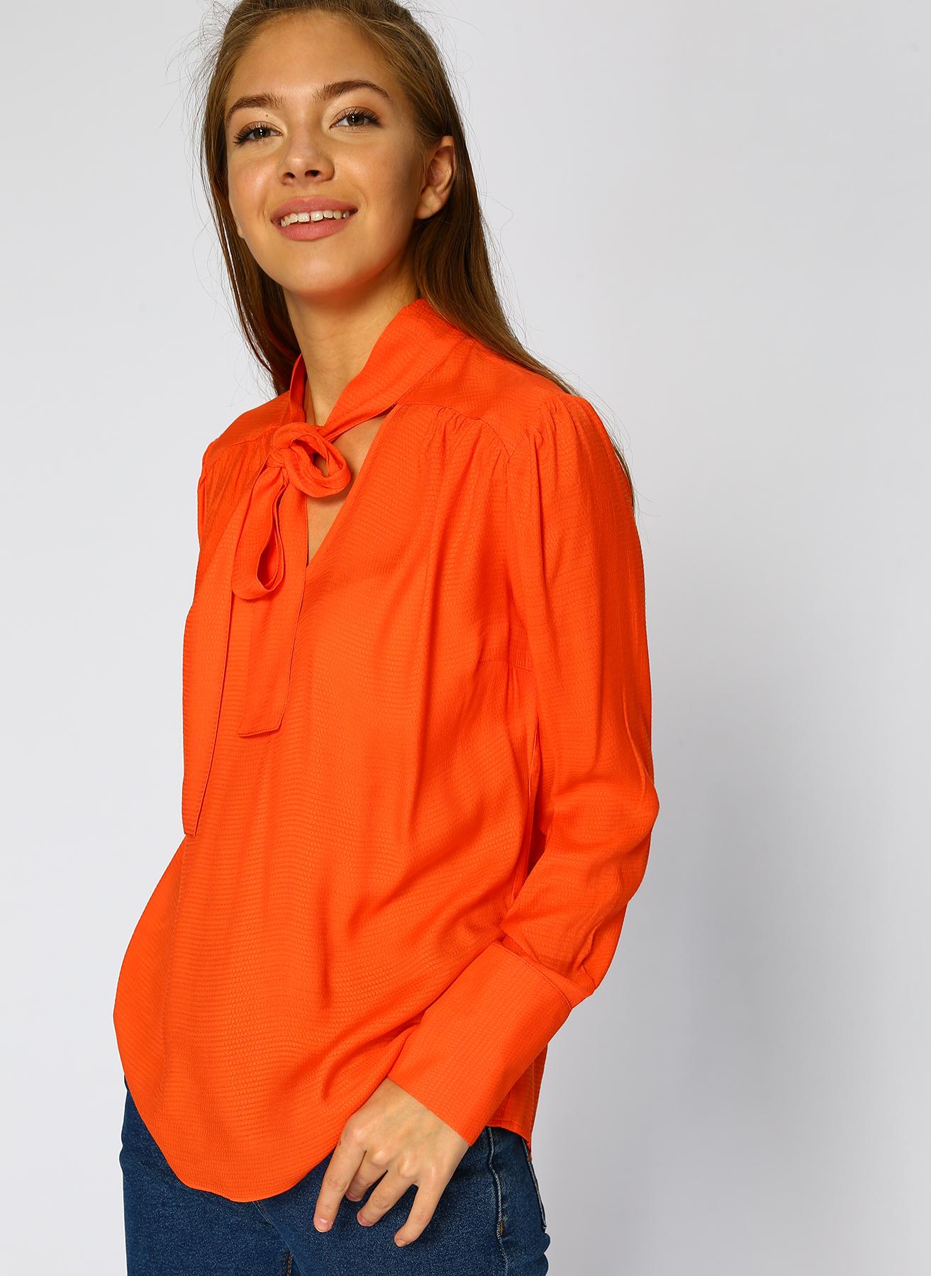 Random Yaka Detaylı Turuncu Bluz 42 5002320006005 Ürün Resmi
