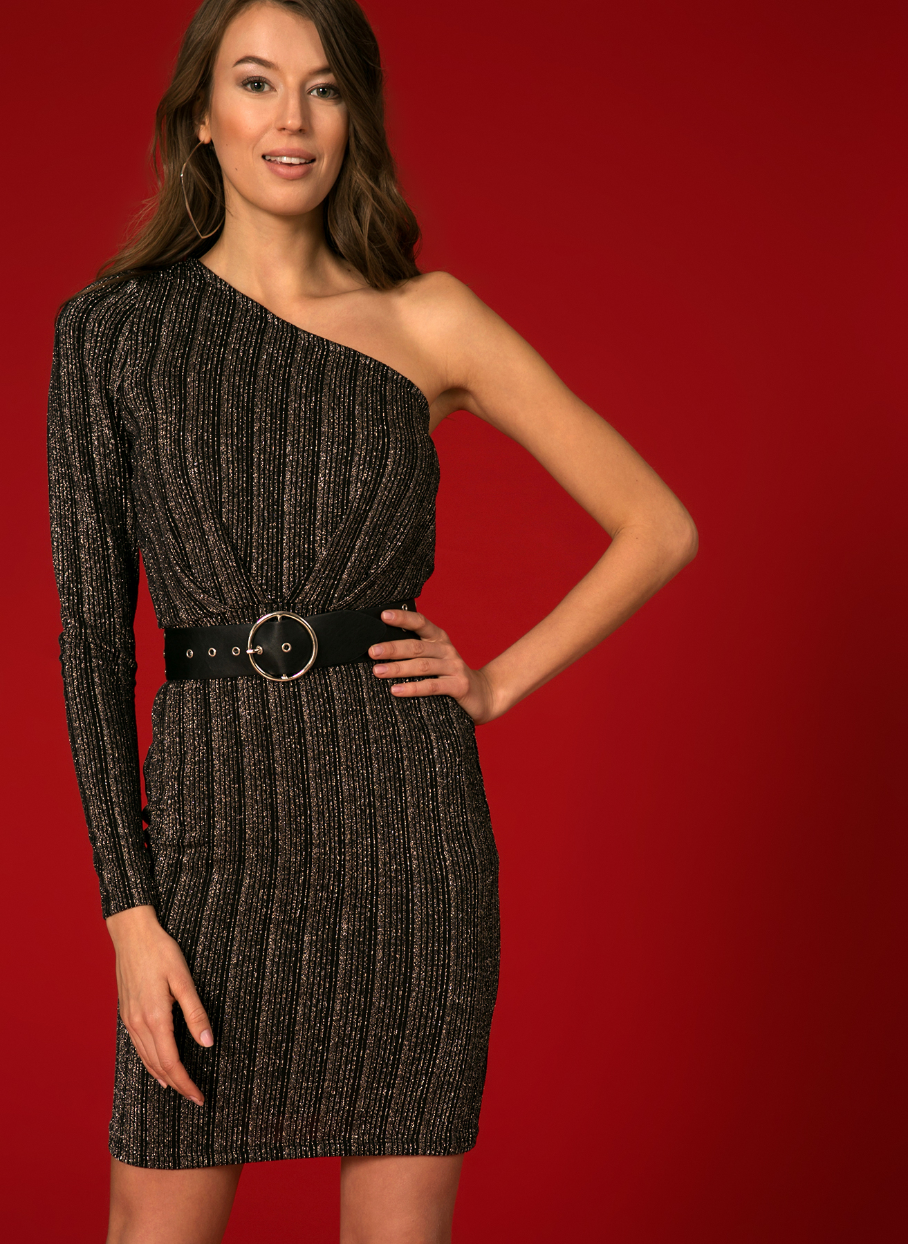 Vero Moda Tek Omuz Simli Siyah Elbise M 5002336329001 Ürün Resmi