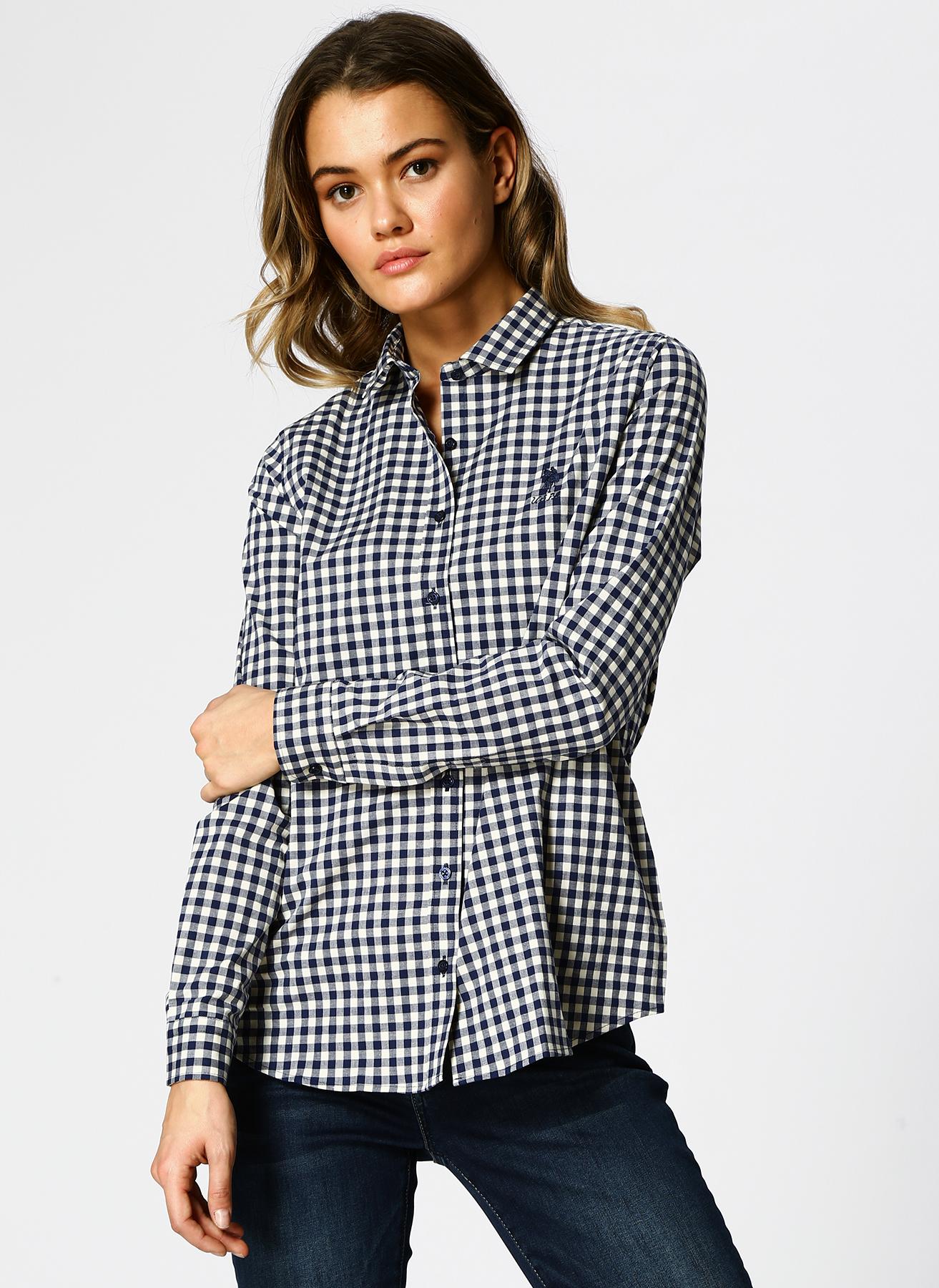 U.S. Polo Assn. Kareli Beyaz-Lacivert Gömlek 40 5002339009003 Ürün Resmi
