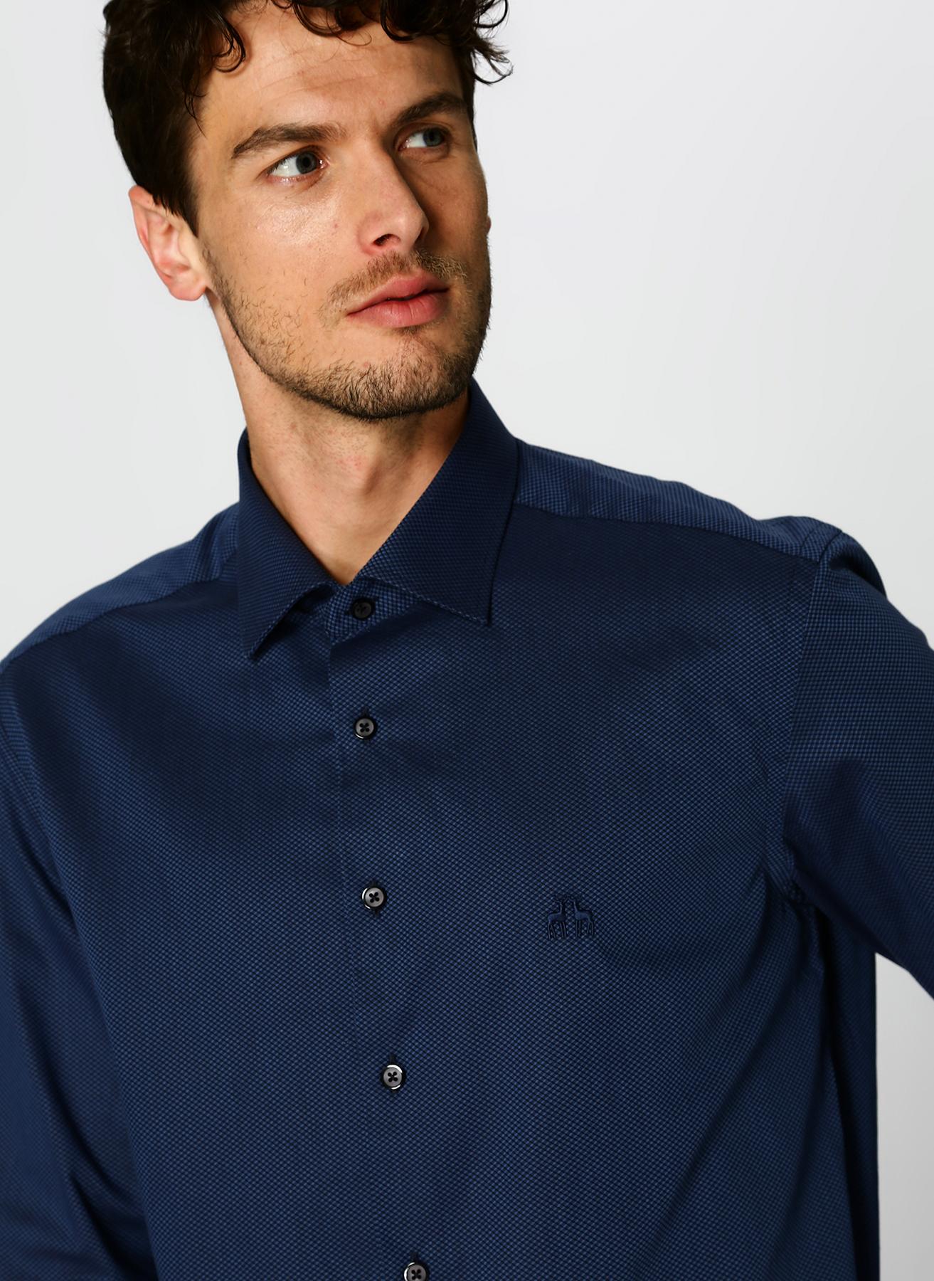 Çift Geyik Karaca Slim Fit Desenli Lacivert Gömlek L 5002339920001 Ürün Resmi