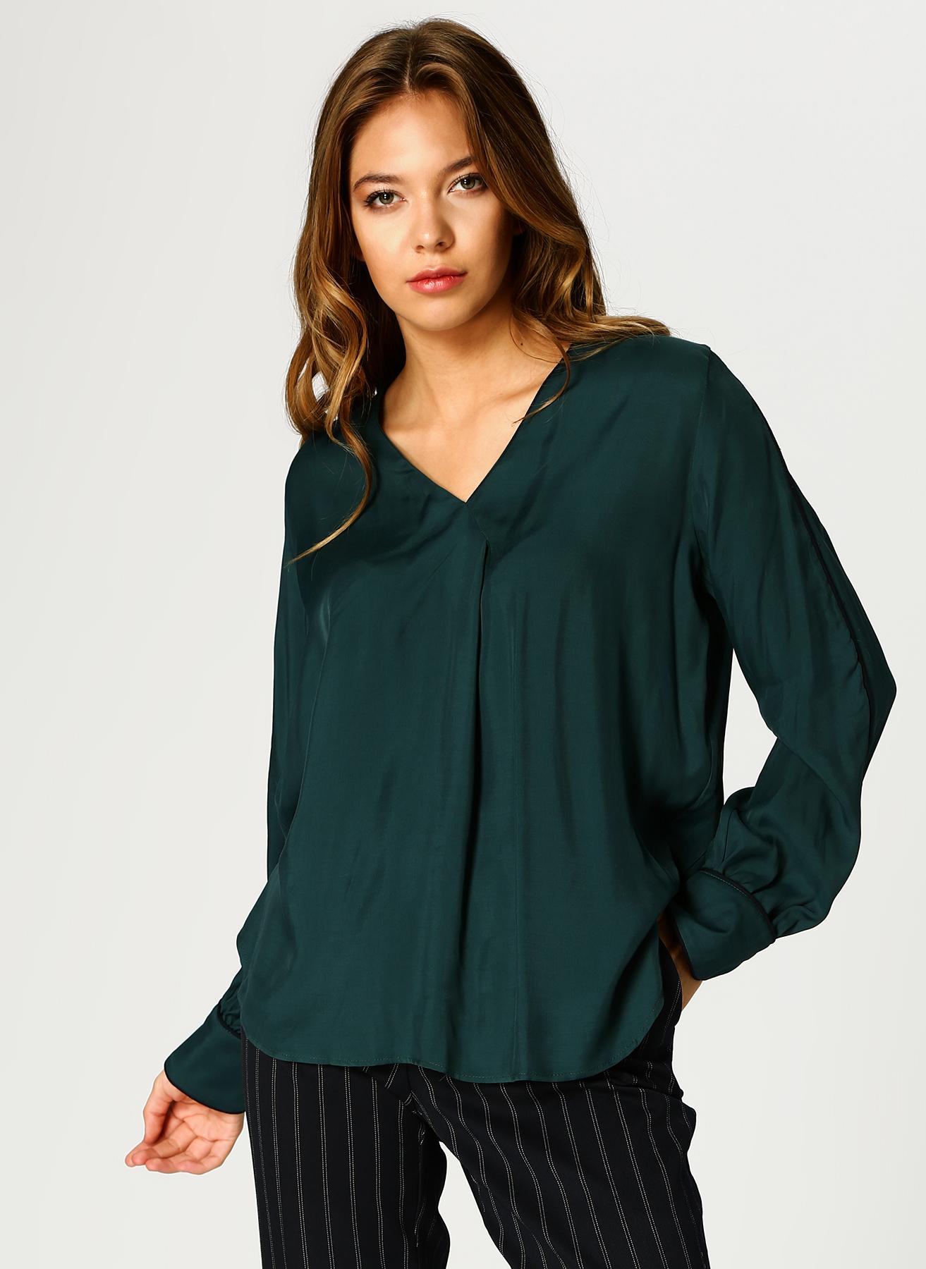 İpekyol Şerit Detaylı V Yaka Yeşil Bluz 40 5002346164004 Ürün Resmi