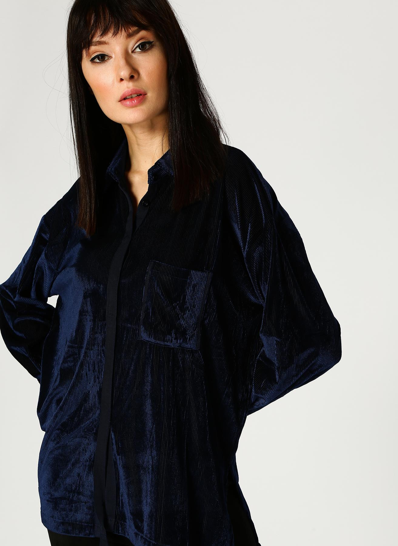 İpekyol Cep Detaylı Kadife Lacivert Gömlek 40 5002346170004 Ürün Resmi