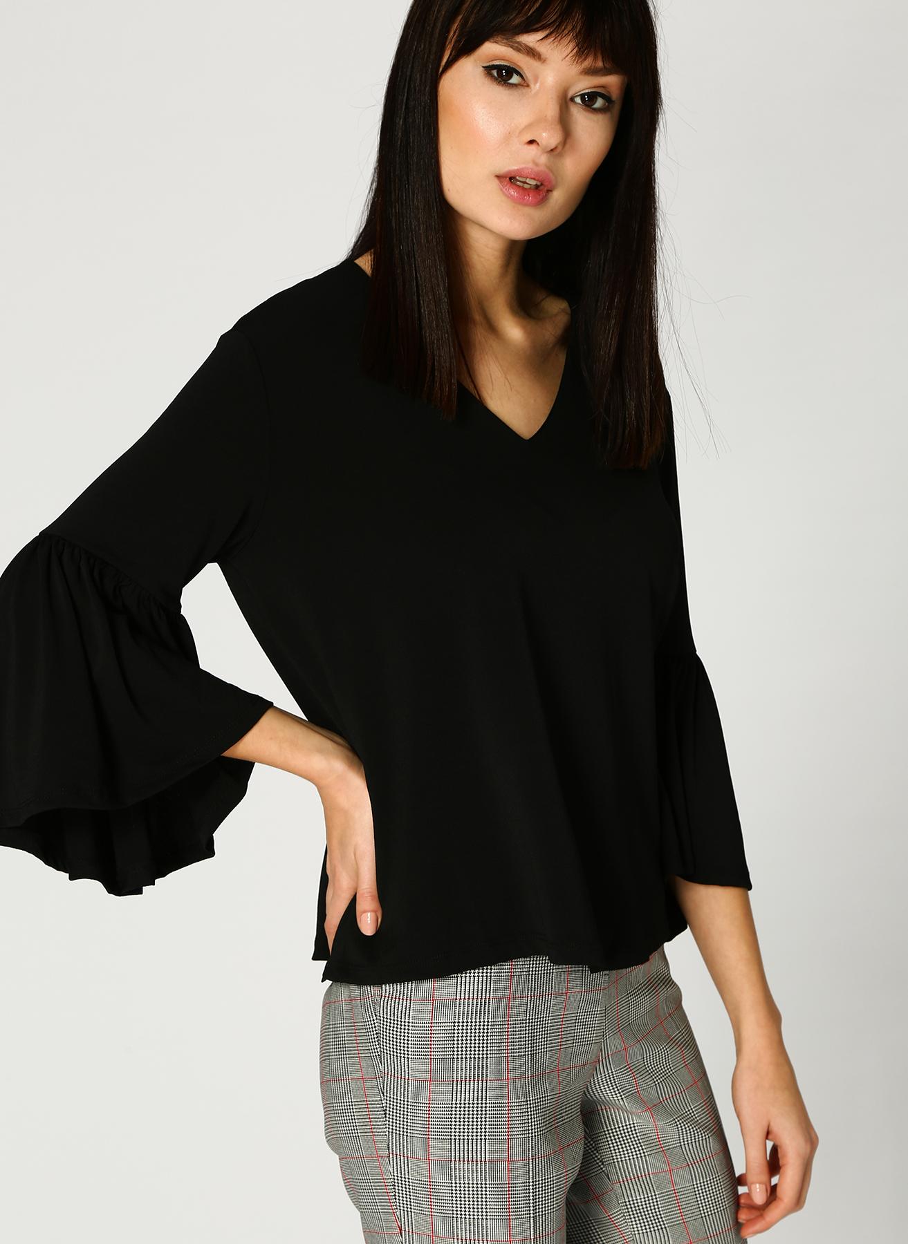Koton Kolları Volanlı Siyah T-Shirt M 5002349751002 Ürün Resmi