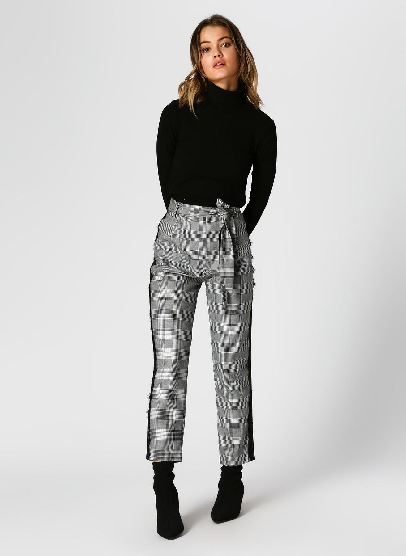 Koton Şerit Detaylı Ekoseli Siyah Pantolon 38 5002349821003 Ürün Resmi