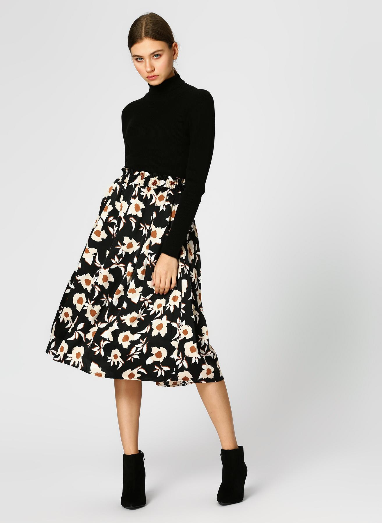 Koton Çiçek Desenli Siyah Kloş Etek 34 5002350000001 Ürün Resmi