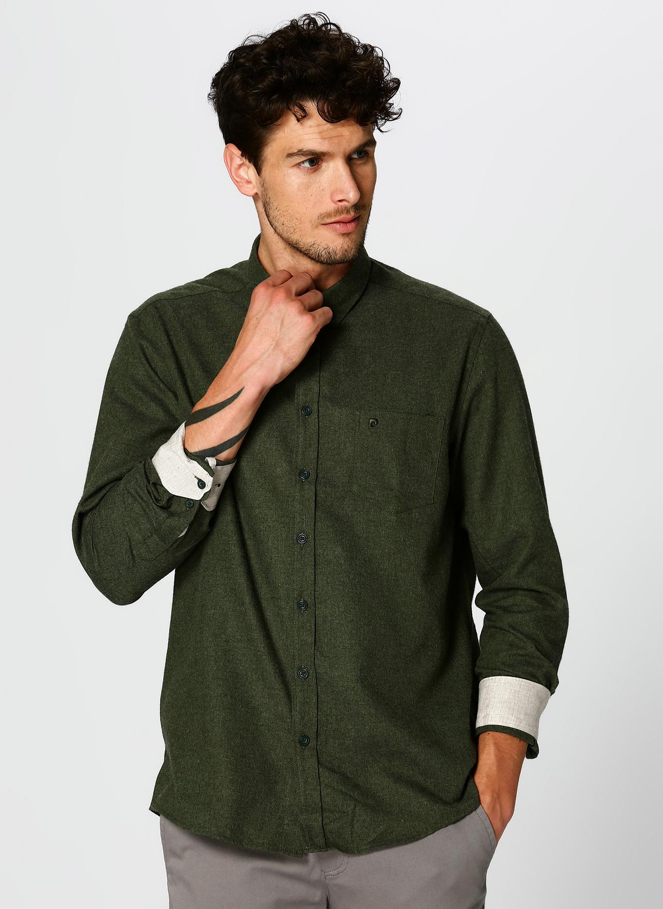 Pierre Cardin Manşeti Renkli Yeşil Gömlek XL 5002350175007 Ürün Resmi