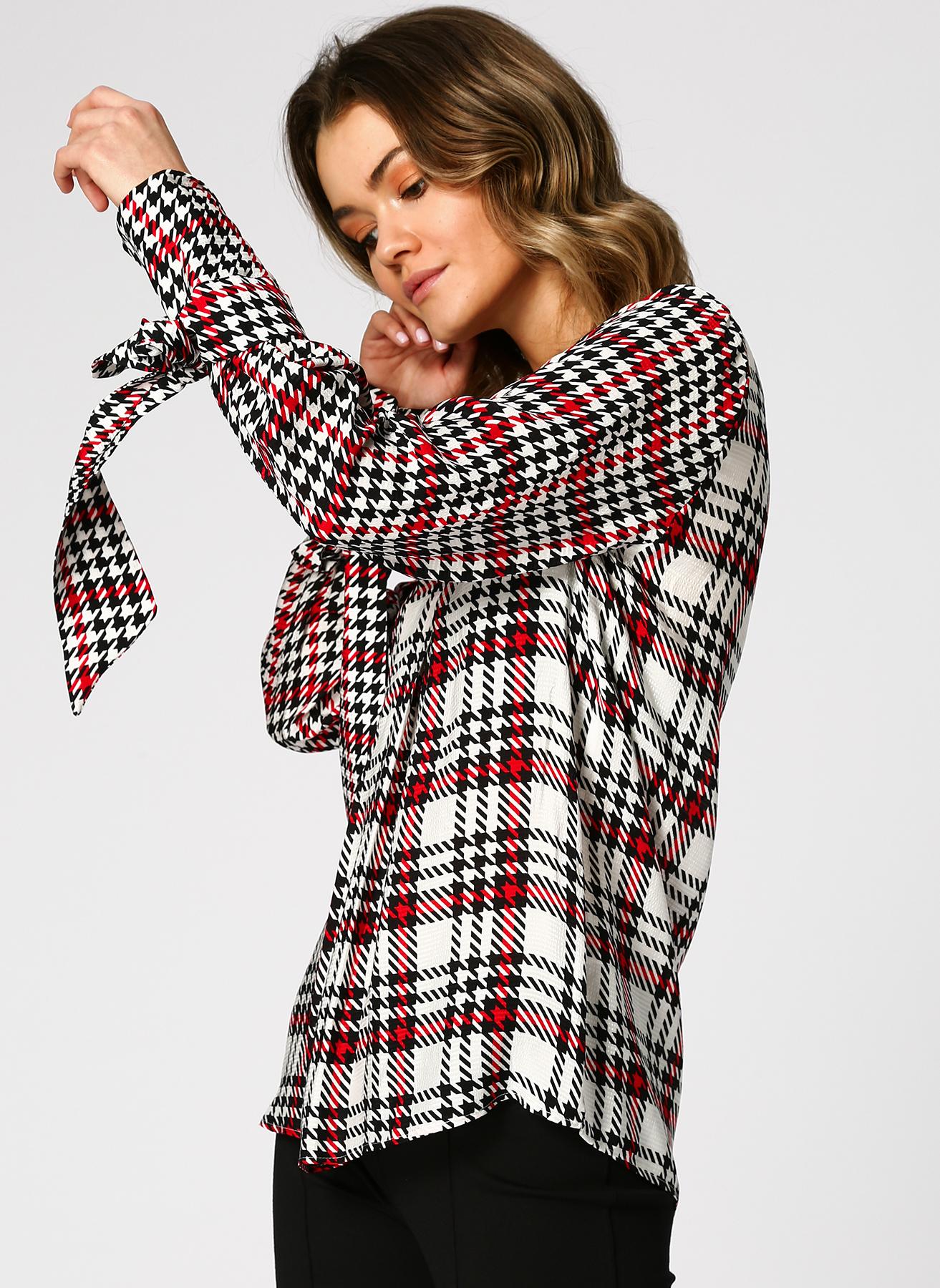 İpekyol Kazayağı Desenli Siyah-Beyaz Bluz 38 5002352248003 Ürün Resmi
