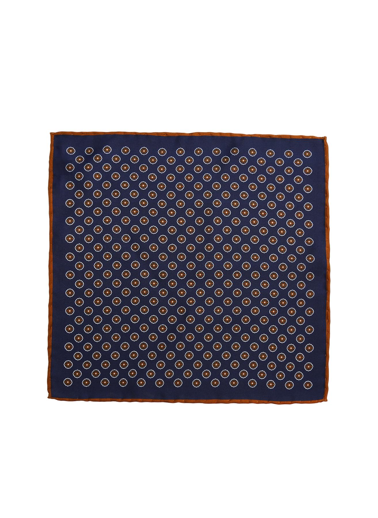George Hogg Geometrik Desenli Lacivert İpek Mendil 5002356633001 Ürün Resmi